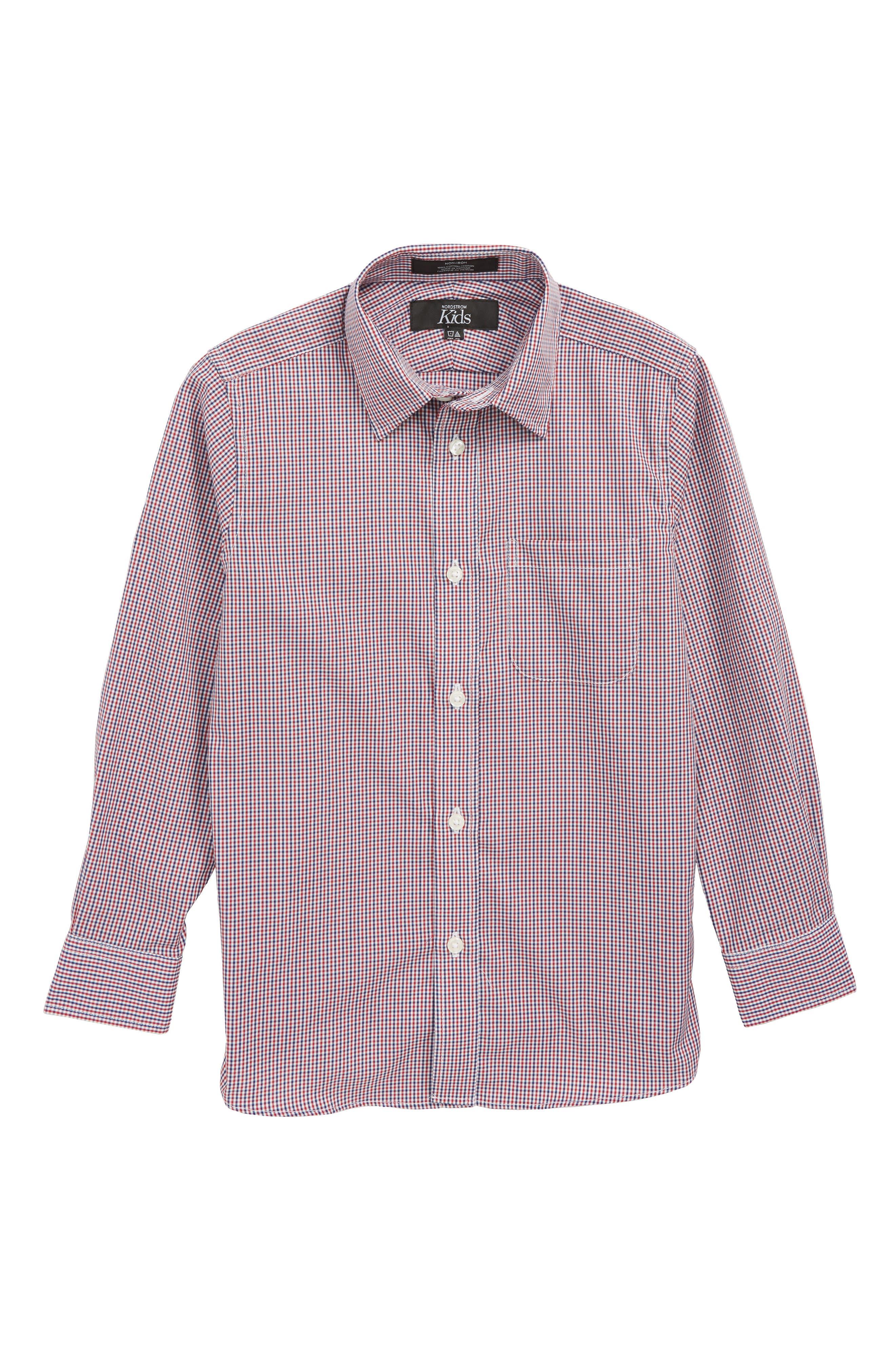 Non-Iron Check Dress Shirt,                             Main thumbnail 1, color,                             RED SAGE- NAVY PLAID