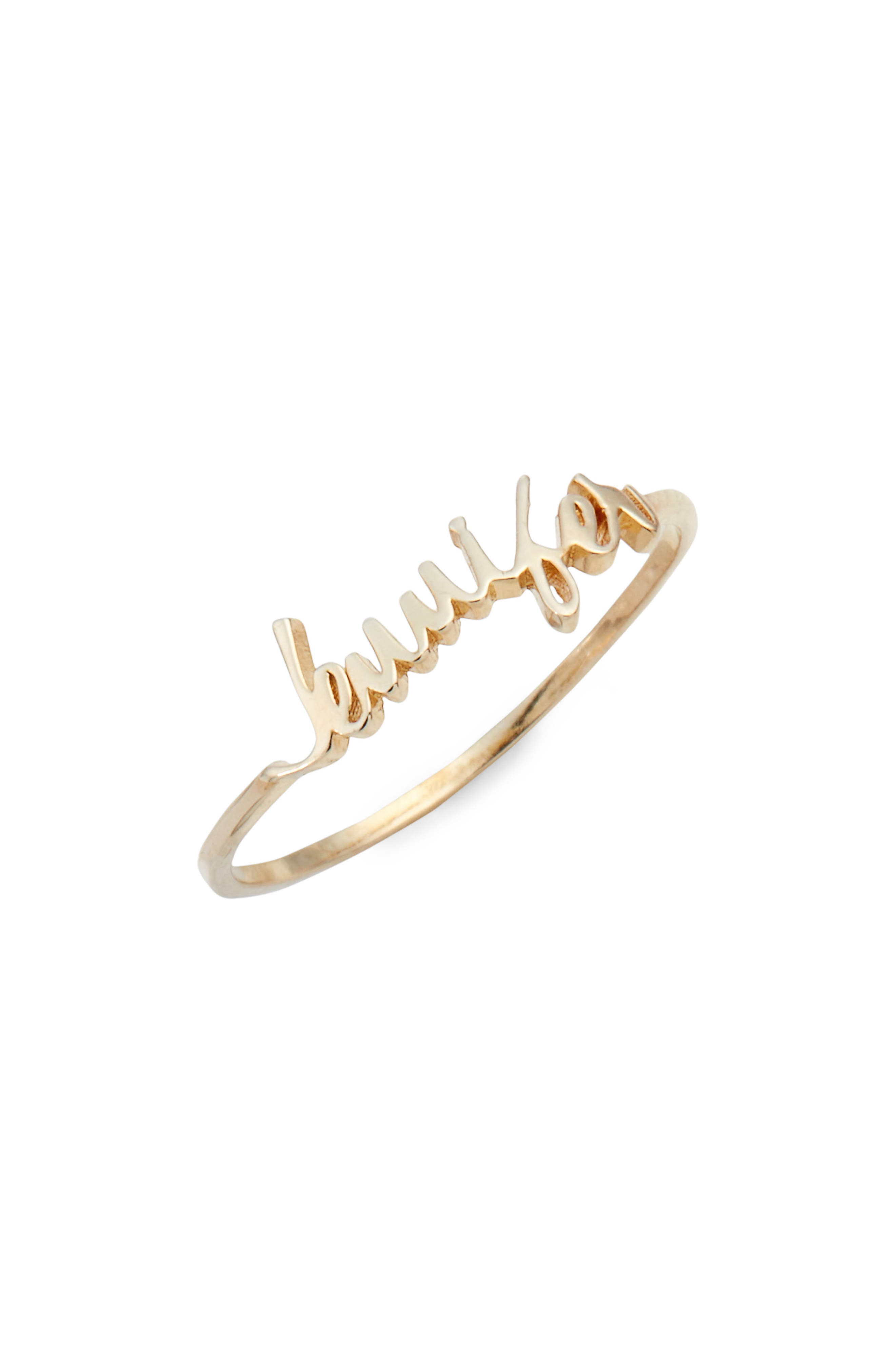Personalized Script Ring,                             Main thumbnail 1, color,                             GOLD