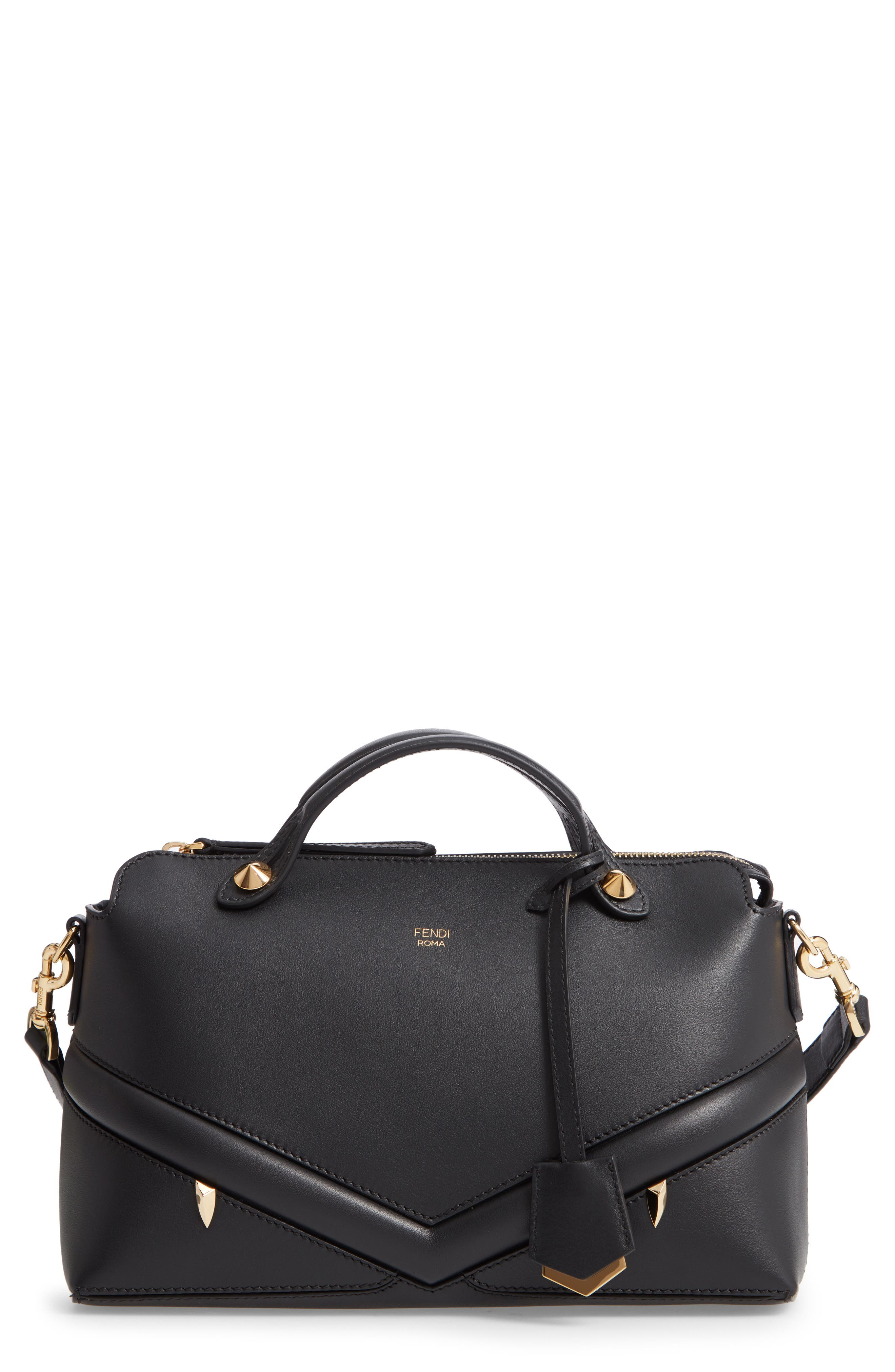 By the Way - Wonders Convertible Leather Shoulder Bag,                             Main thumbnail 1, color,                             NERO/ ORO SOFT