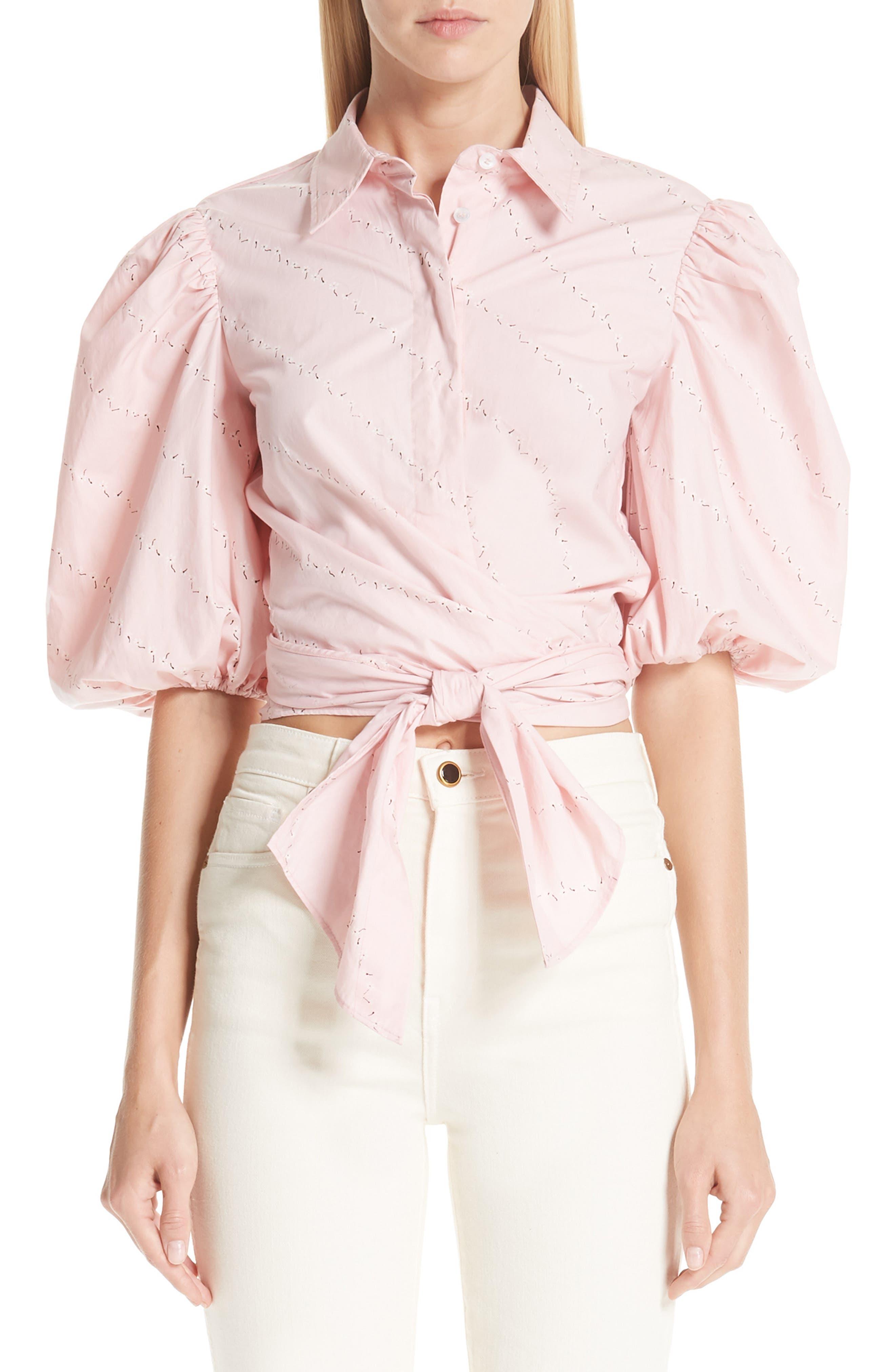 Print Poplin Shirt,                         Main,                         color, SILVER PINK 499