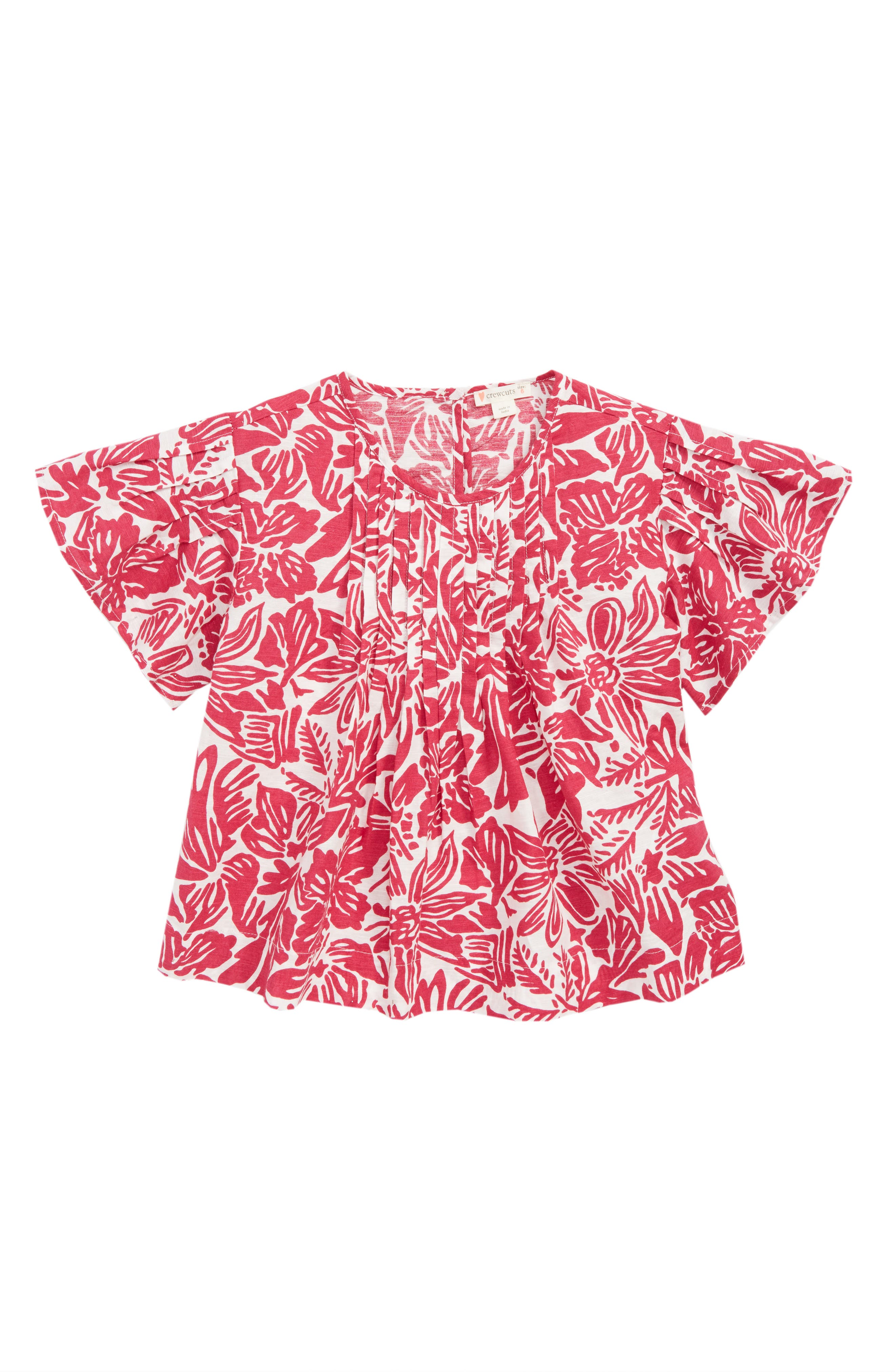 Tropical Floral Print Pleated Top,                             Main thumbnail 1, color,                             WILD FUSCHIA