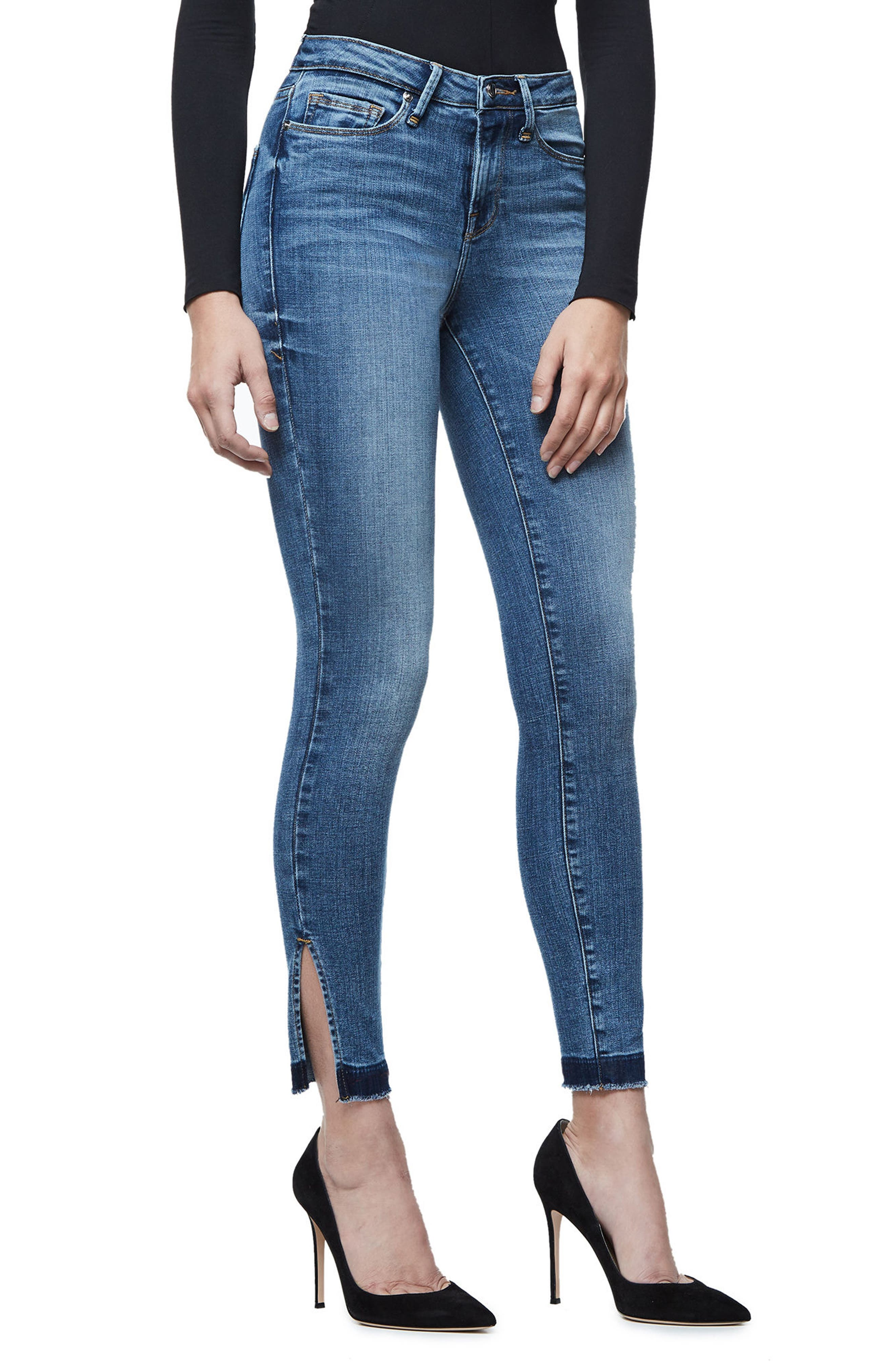 Good Legs High Rise Split Hem Crop Skinny Jeans,                             Alternate thumbnail 3, color,                             401