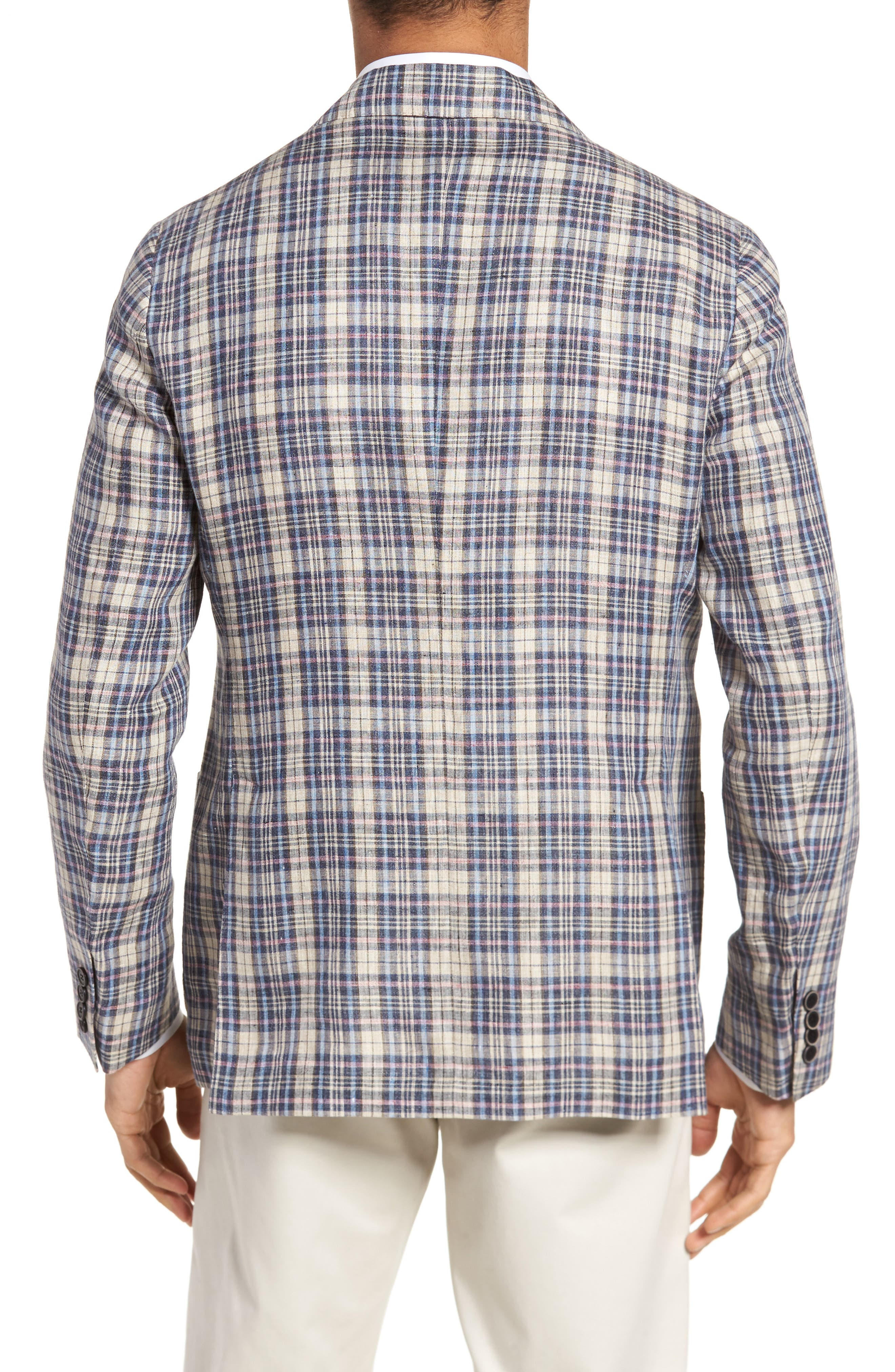 Trim Fit Plaid Linen Sport Coat,                             Alternate thumbnail 2, color,                             250