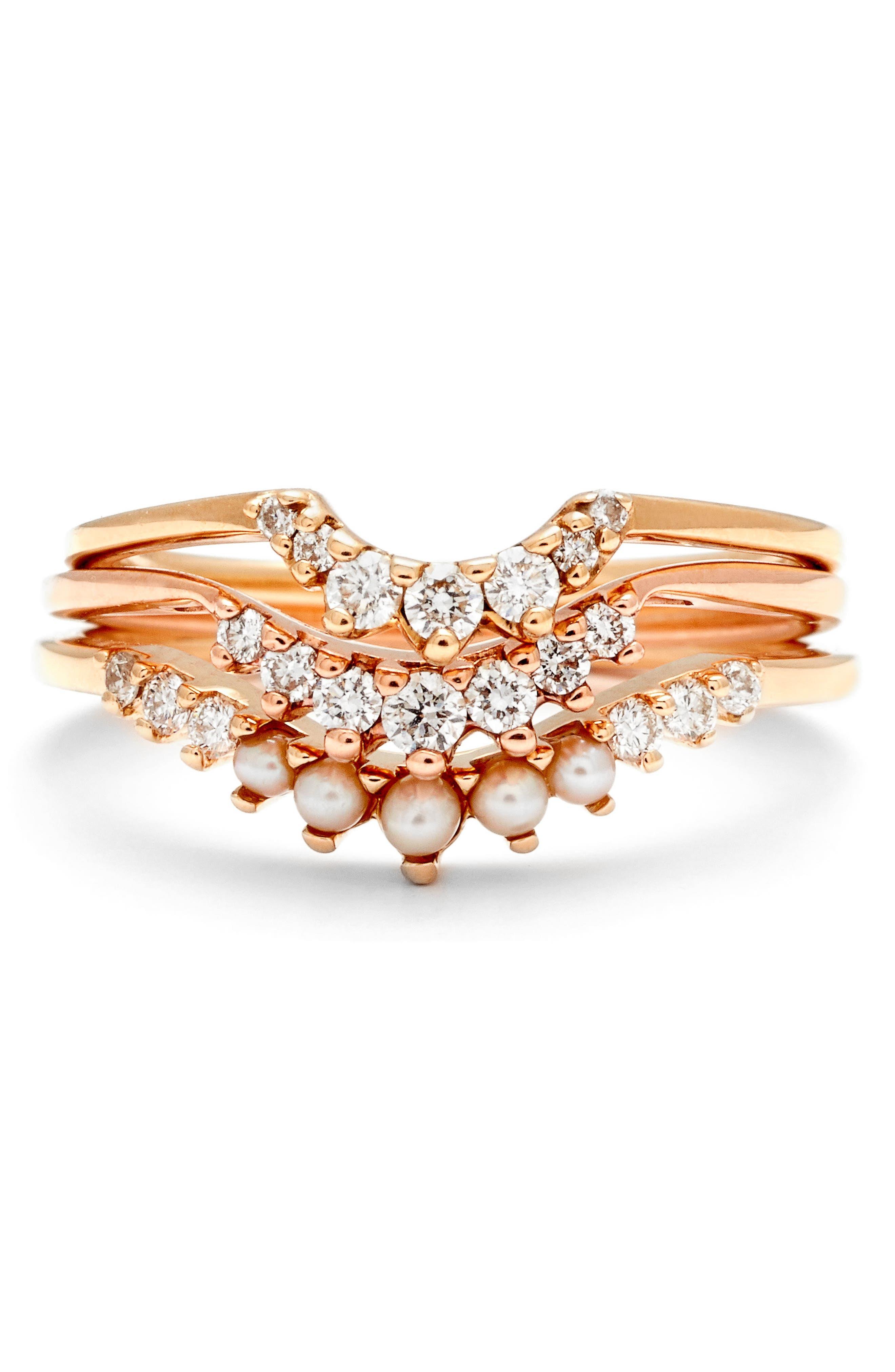 'Luna Tiara' Diamond Ring,                             Alternate thumbnail 2, color,                             ROSE/ GOLD/ WHITE