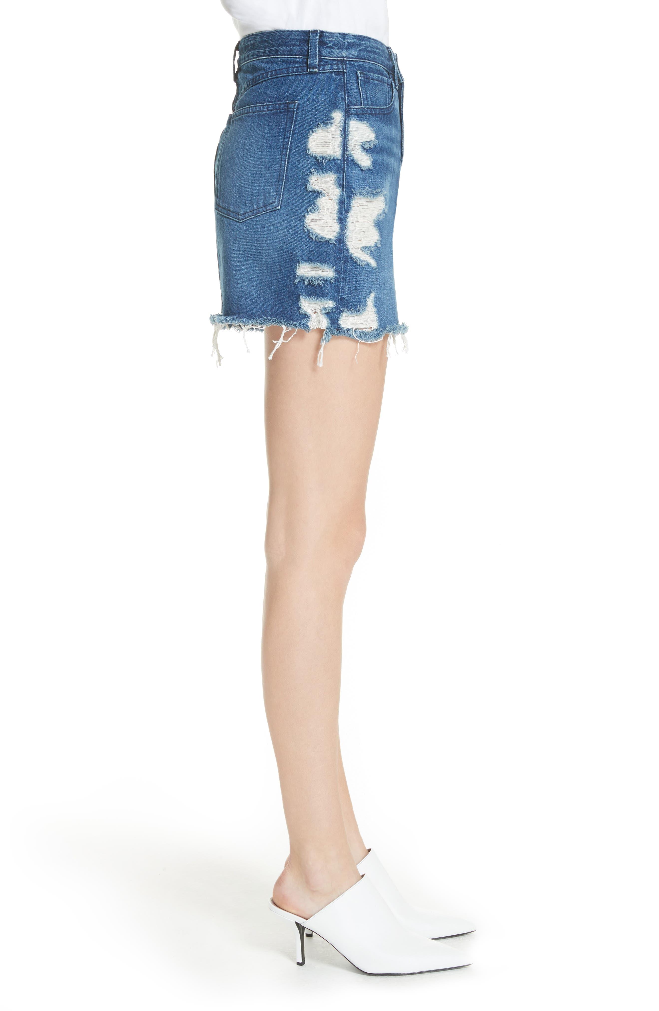 Celine Distressed Denim Skirt,                             Alternate thumbnail 3, color,                             LELA