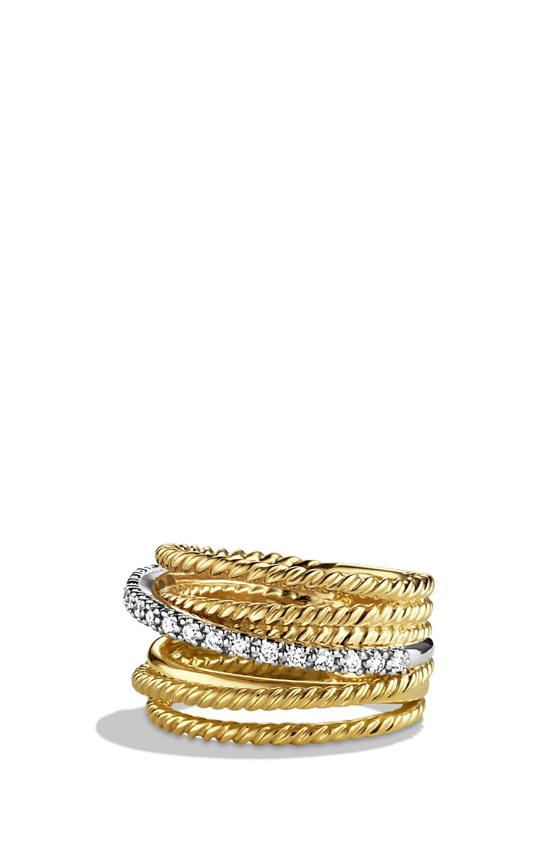 'DY Crossover' Ring with Diamonds in Gold,                             Main thumbnail 1, color,                             DIAMOND