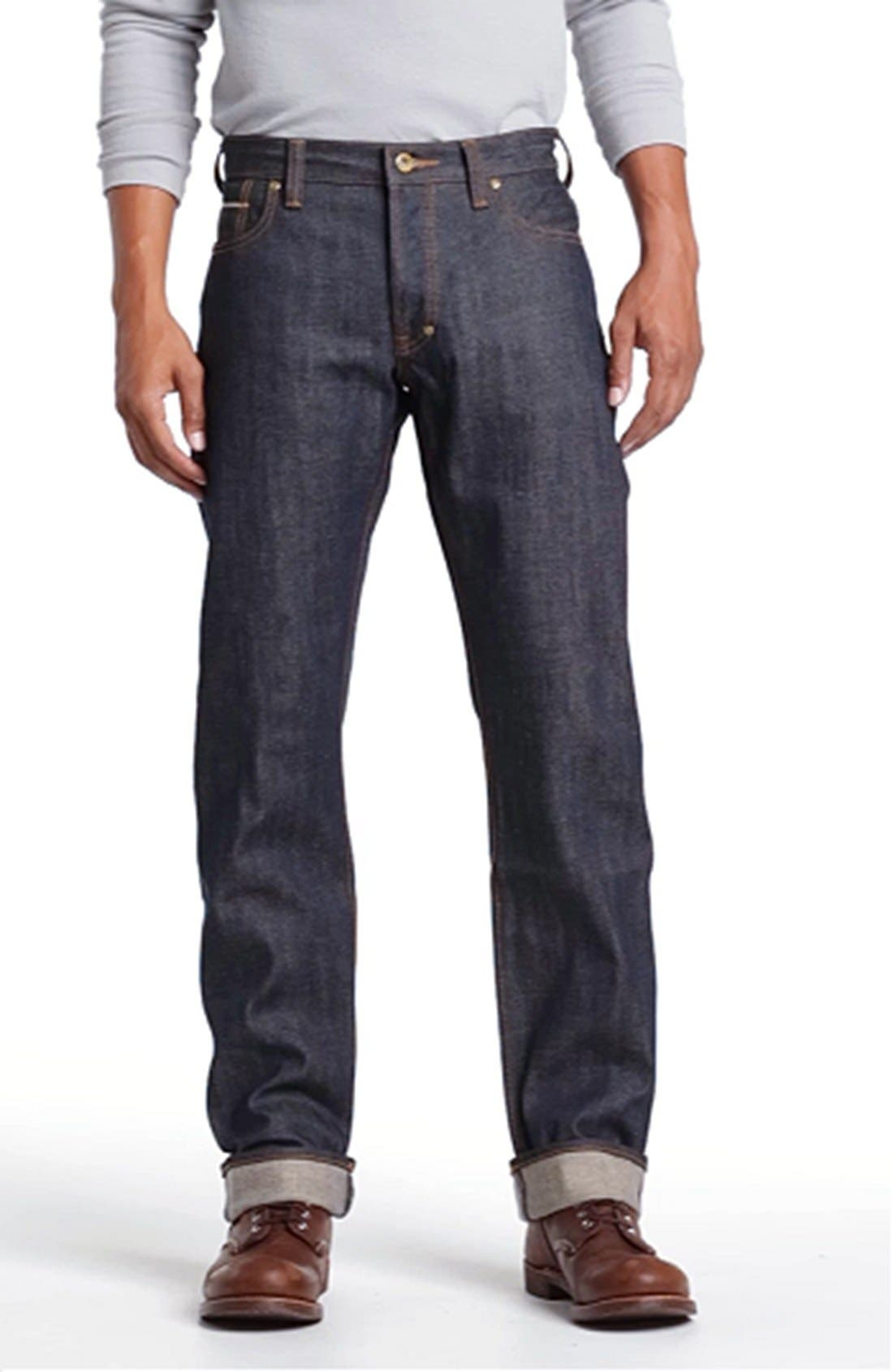 'Barracuda' Straight Leg Selvedge Jeans,                             Alternate thumbnail 4, color,                             413