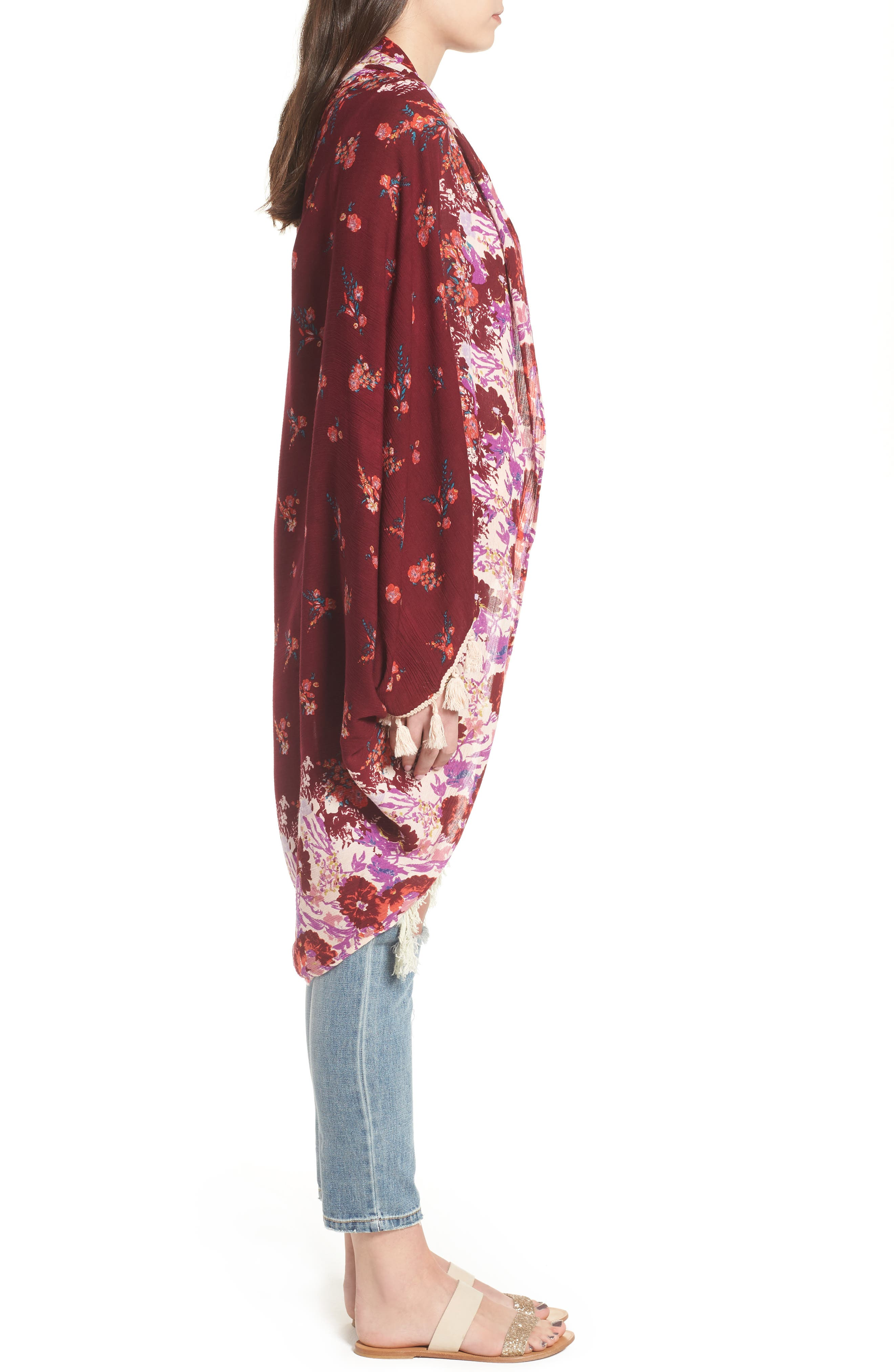 Bali Wrapped In Blooms Shawl,                             Alternate thumbnail 3, color,                             RED COMBO