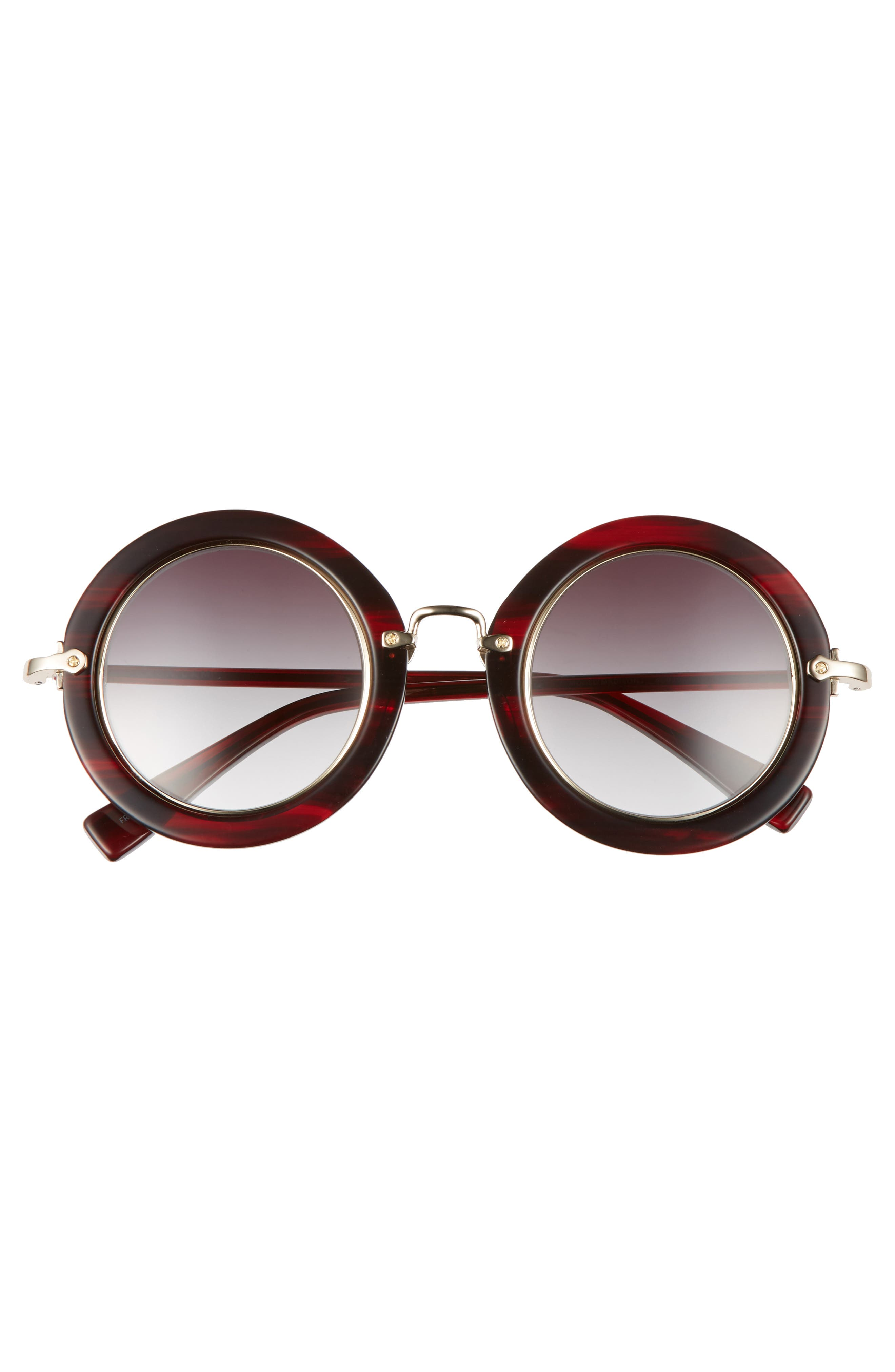Madison 46mm Round Sunglasses,                             Alternate thumbnail 3, color,                             RED FEATHER