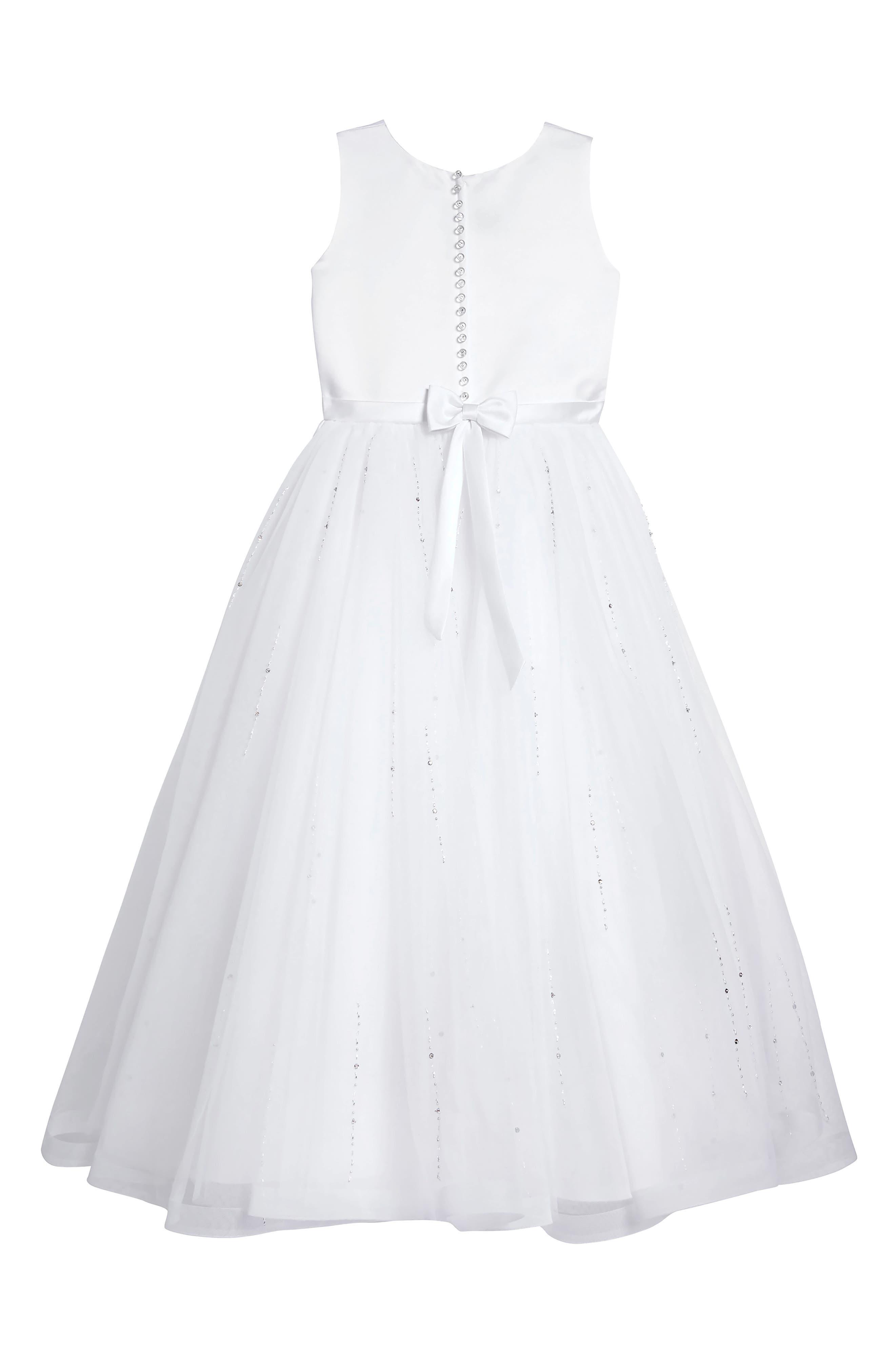 Satin & Tulle First Communion Dress,                             Alternate thumbnail 2, color,                             100