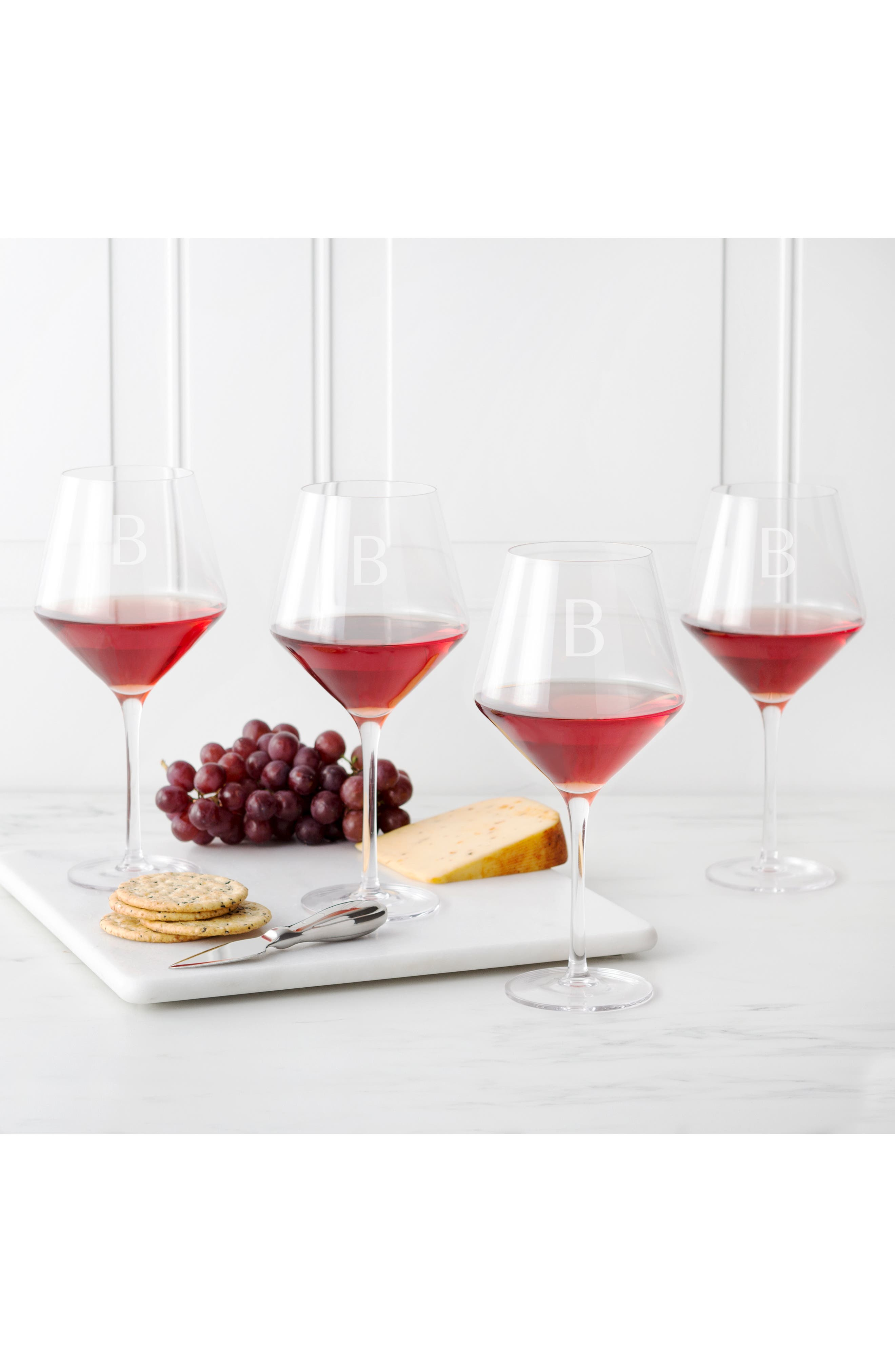 Estate Collection Set of 4 Monogram Red Wine Glasses,                             Alternate thumbnail 5, color,                             BLANK