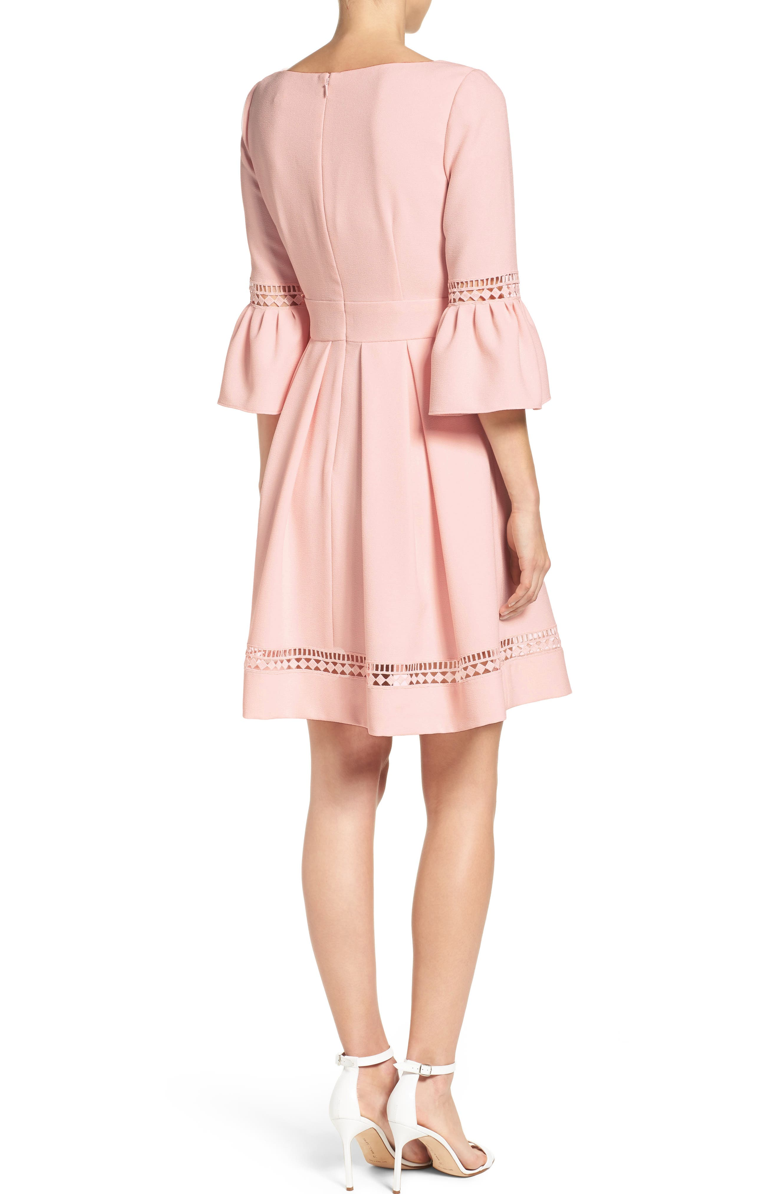 ELIZA J,                             Bell Sleeve Fit & Flare Dress,                             Alternate thumbnail 2, color,                             BLUSH