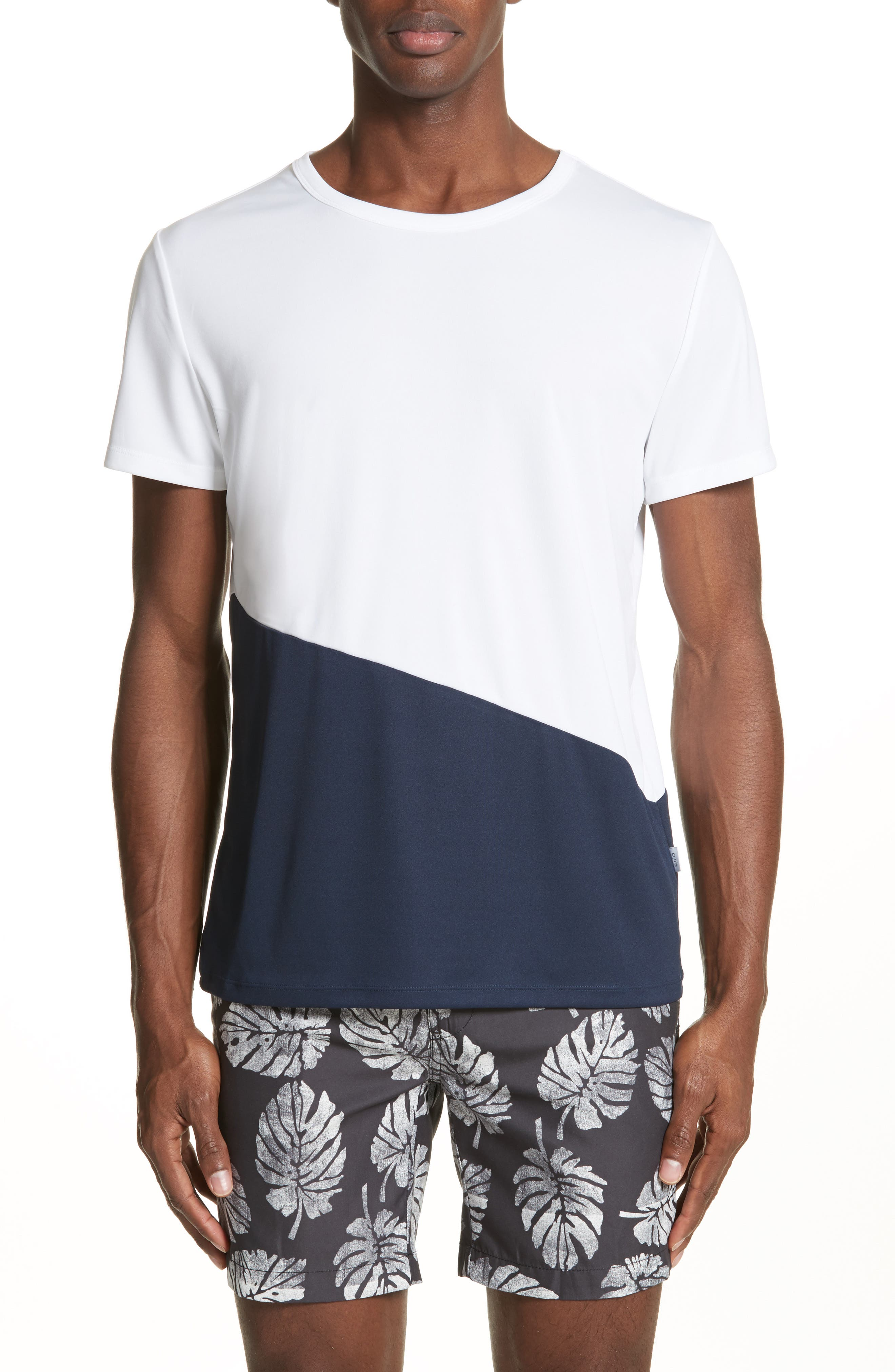 Colorblock Crewneck T-Shirt,                         Main,                         color, DEEP NAVY/ WHITE