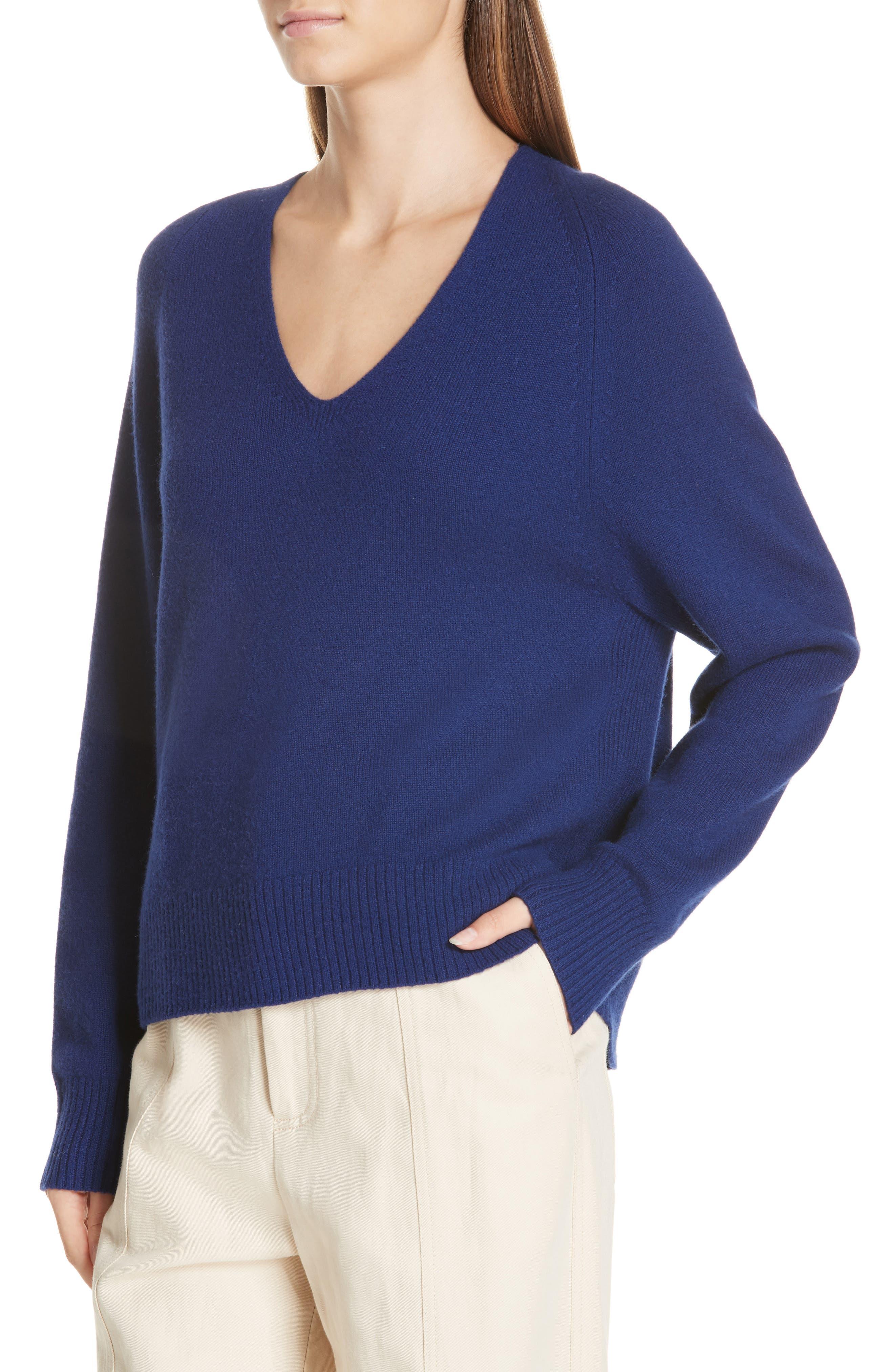 Deep V-Neck Cashmere Sweater,                             Alternate thumbnail 4, color,                             INK