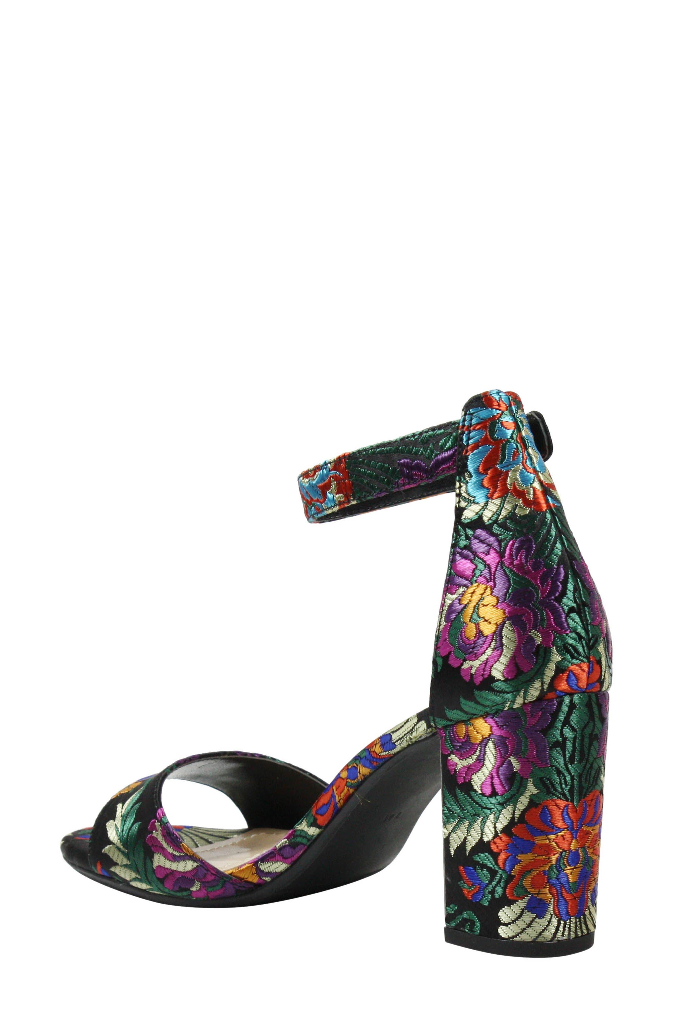 Flaviana Ankle Strap Sandal,                             Alternate thumbnail 2, color,                             BLACK MULTI FABRIC