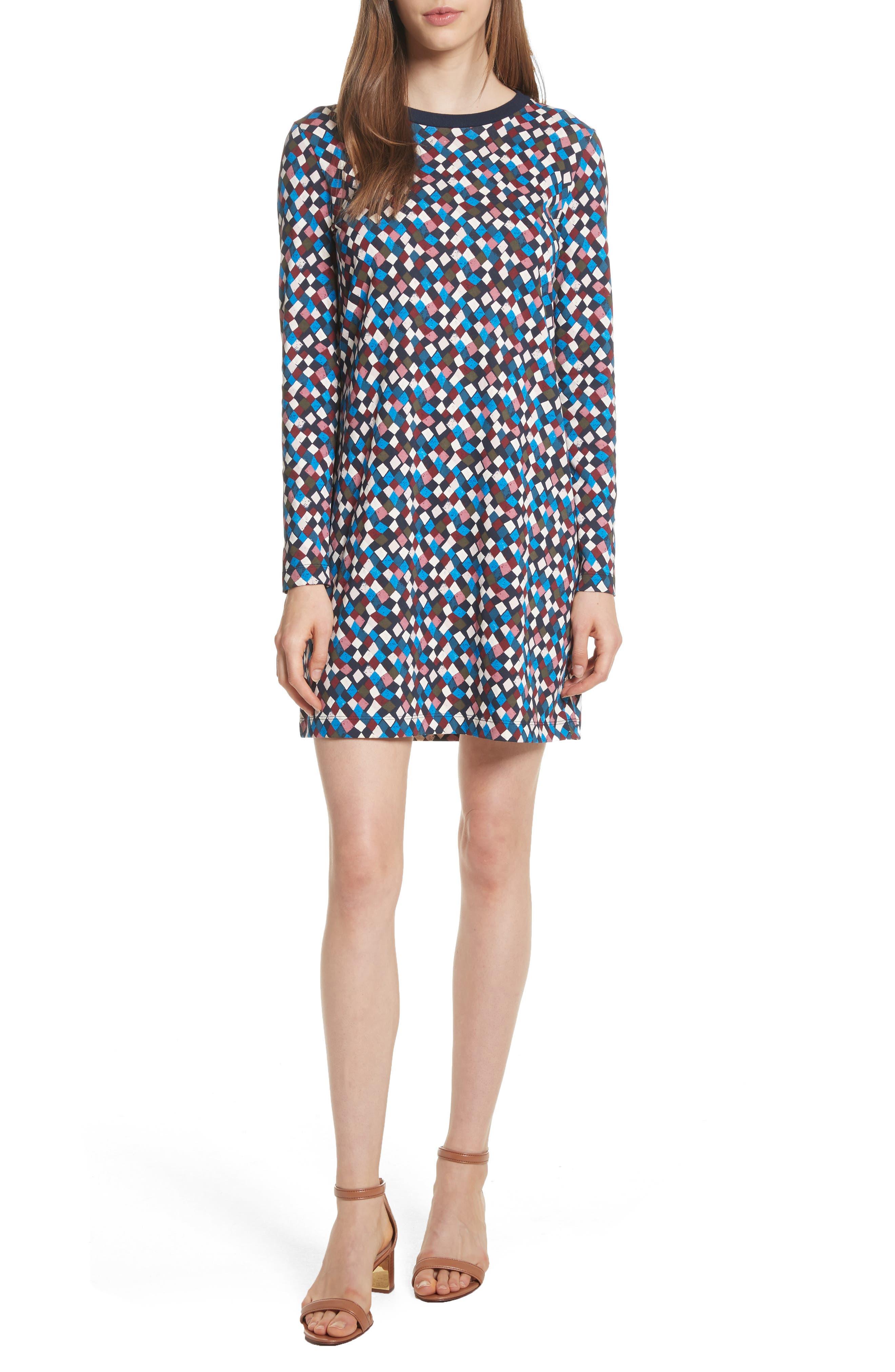 Maggie Print Cotton Shift Dress,                         Main,                         color, 487