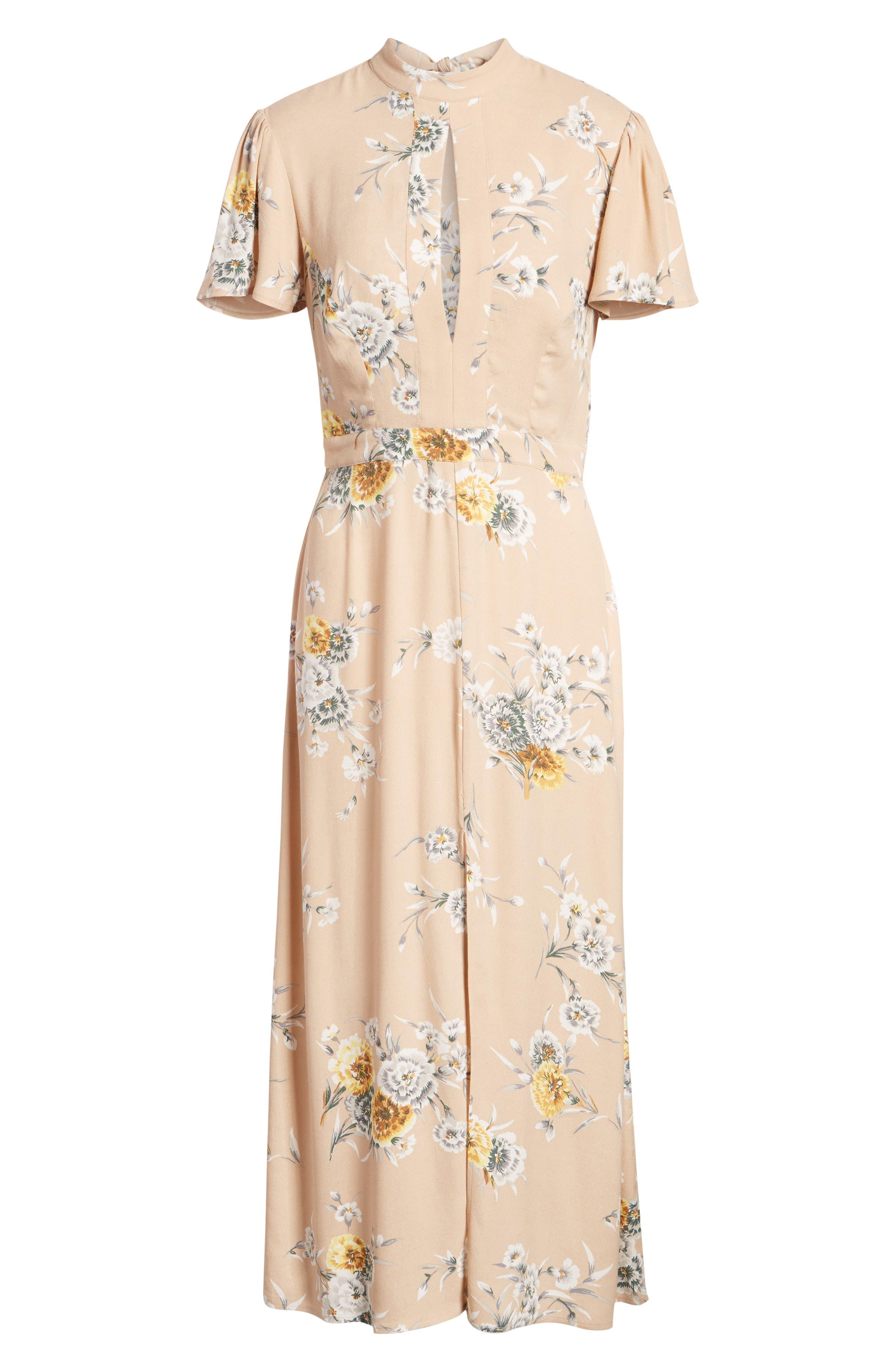 Aliana Tie Detail Dress,                             Alternate thumbnail 7, color,                             BEIGE BOUQUET