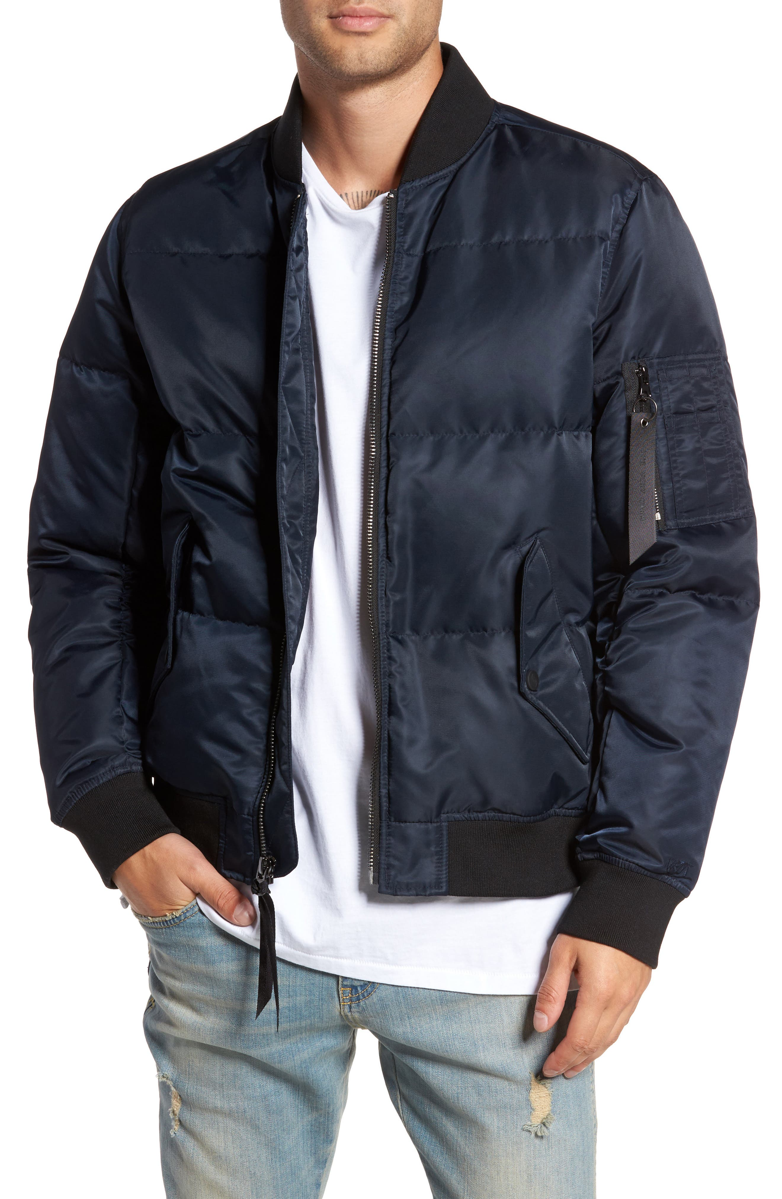 Quilted Down Bomber Jacket,                             Main thumbnail 3, color,