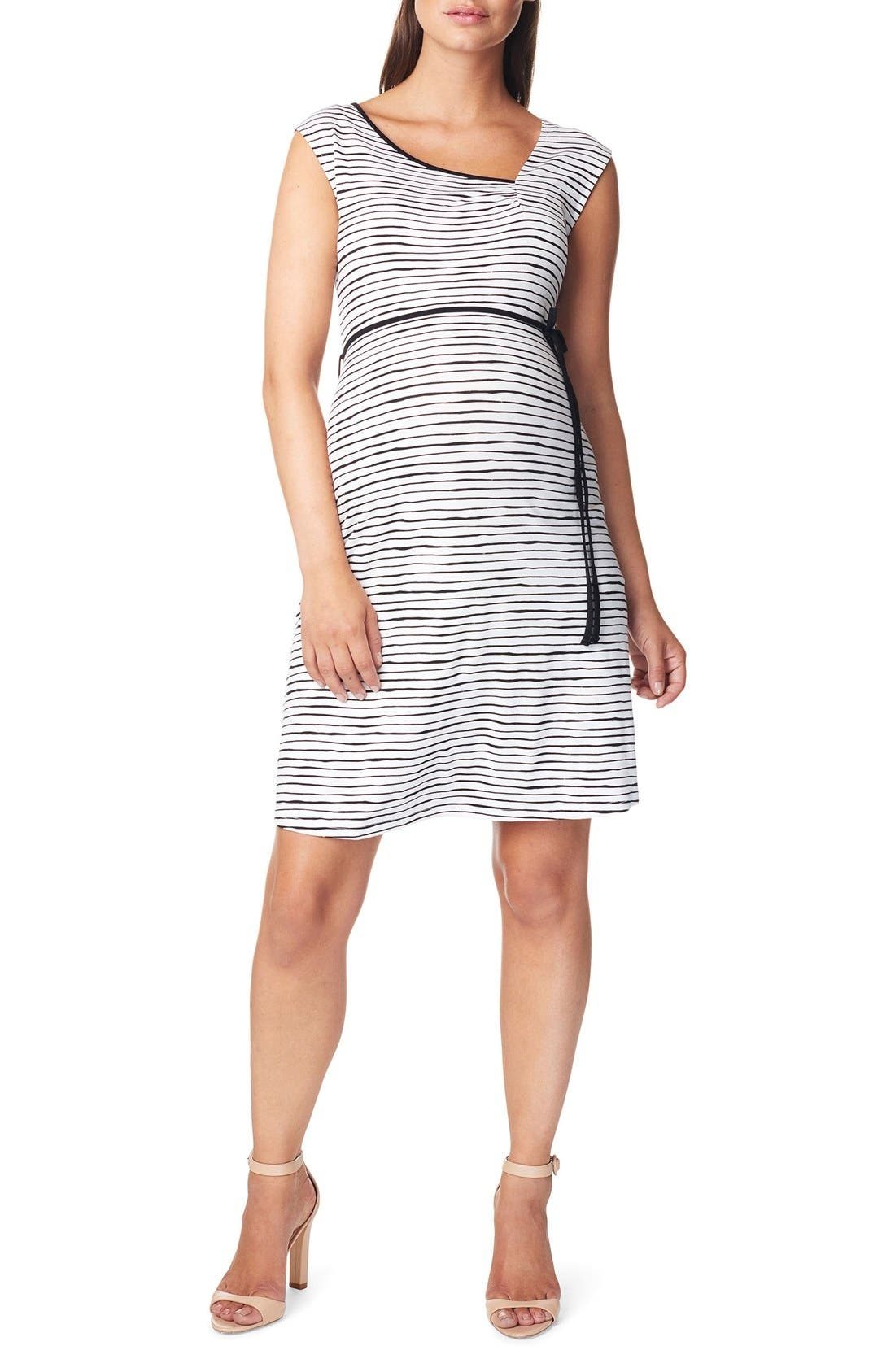 Mila Maternity Dress,                         Main,                         color, BLACK