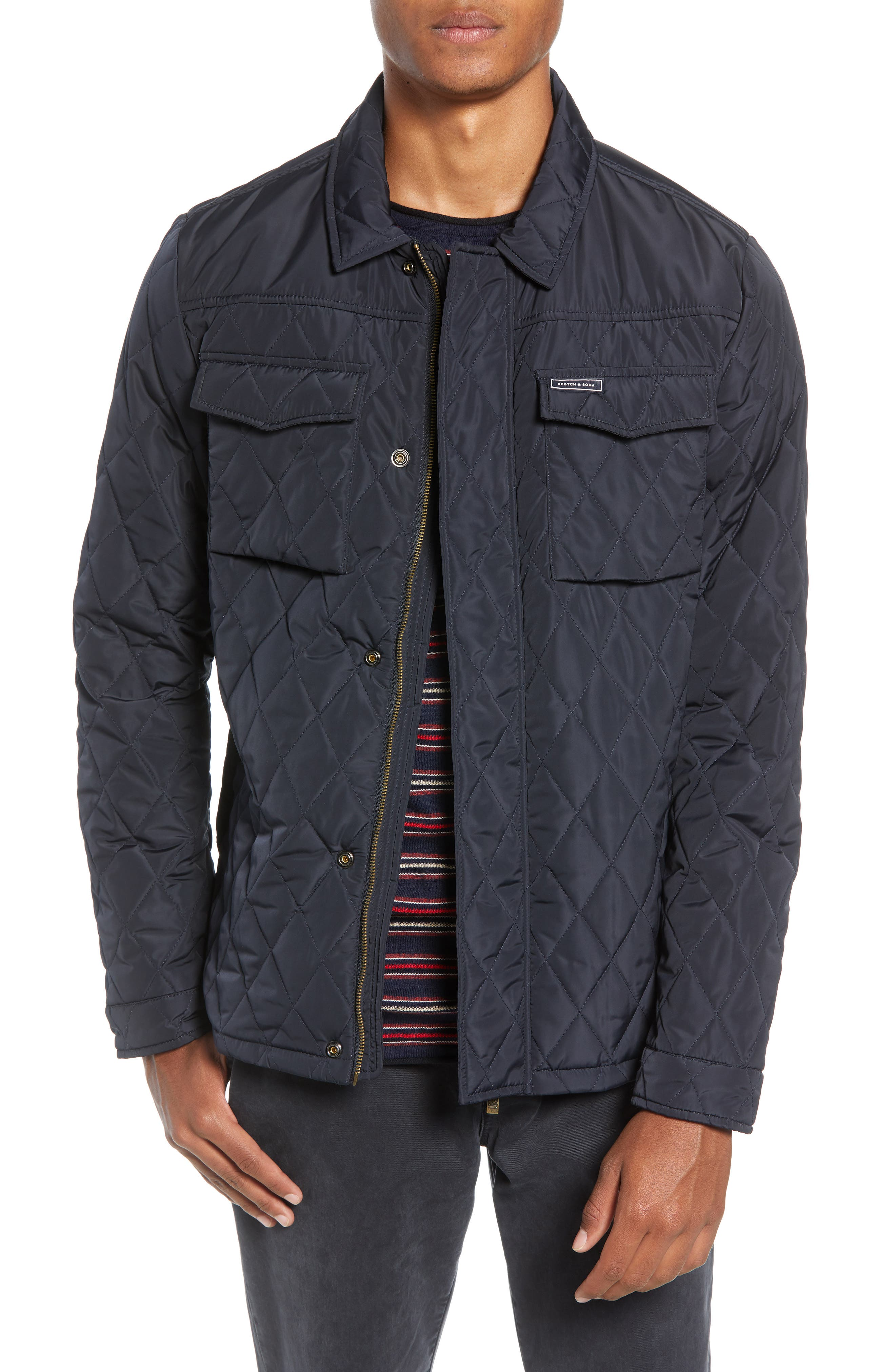 Quilted Shirt Jacket,                         Main,                         color, NIGHT