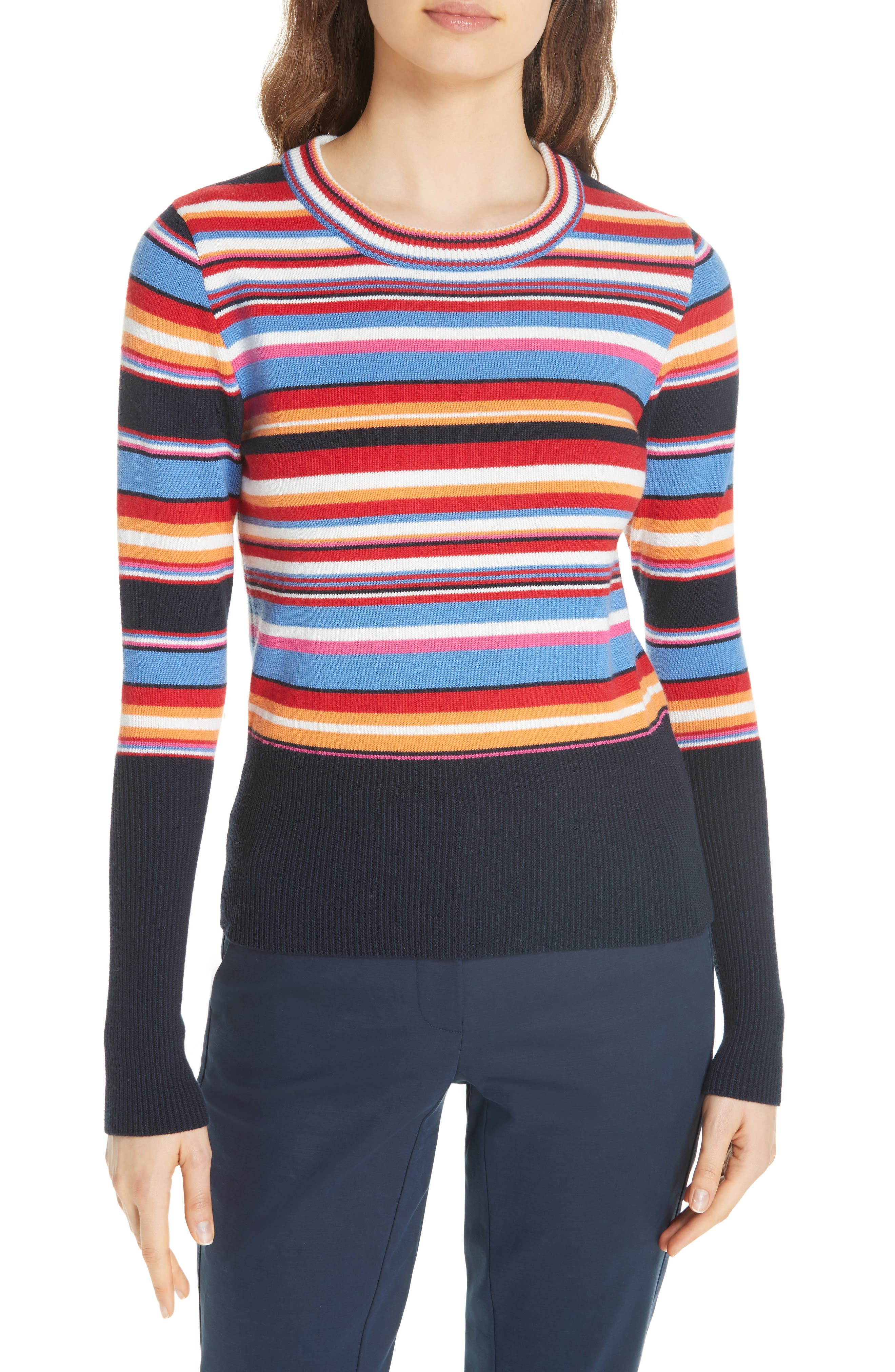 Kit Stripe Scoop Neck Sweater,                             Main thumbnail 1, color,                             TORY NAY