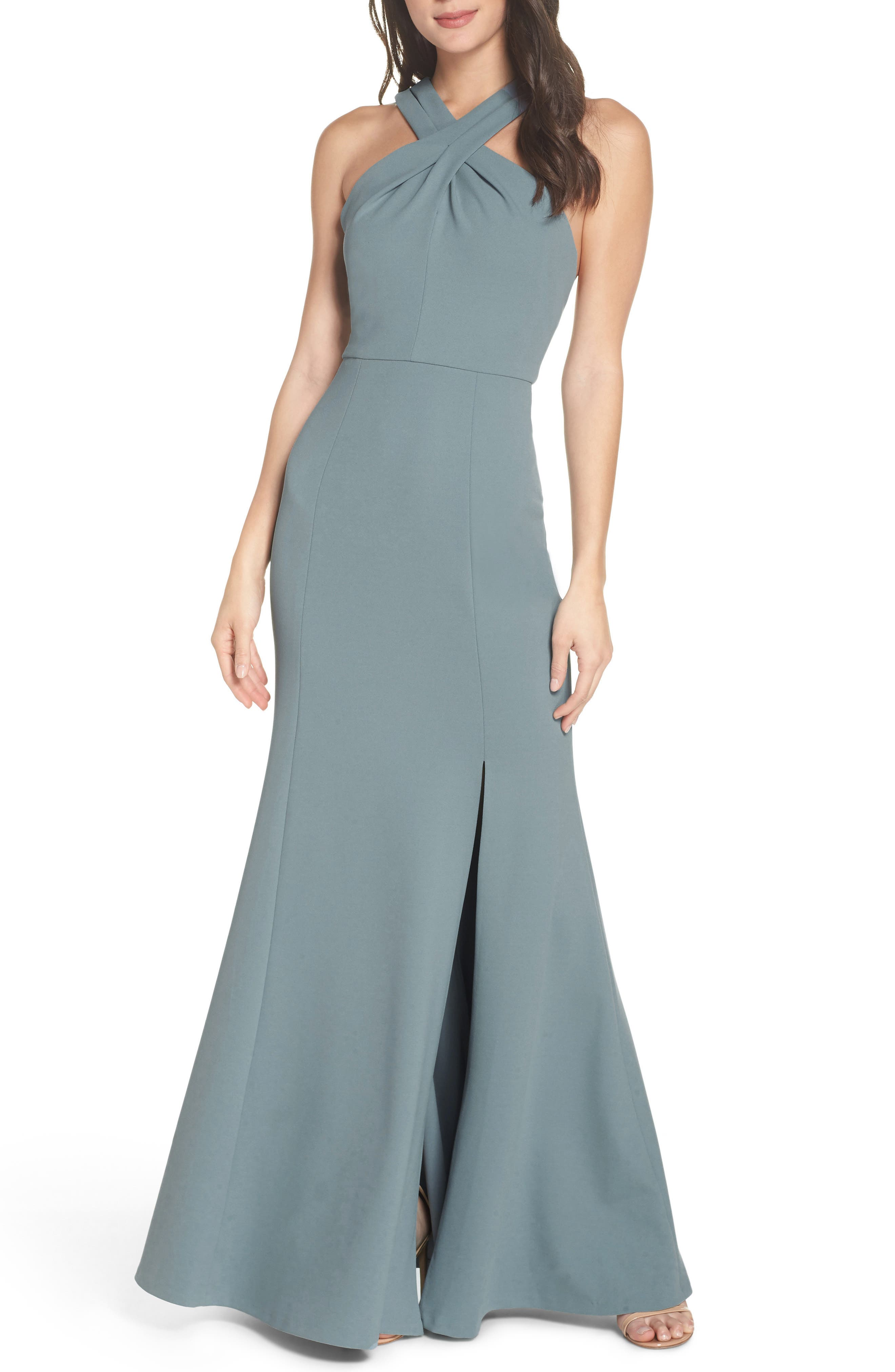 Jenny Yoo Kayleigh Cross Front Crepe Knit Gown, Blue