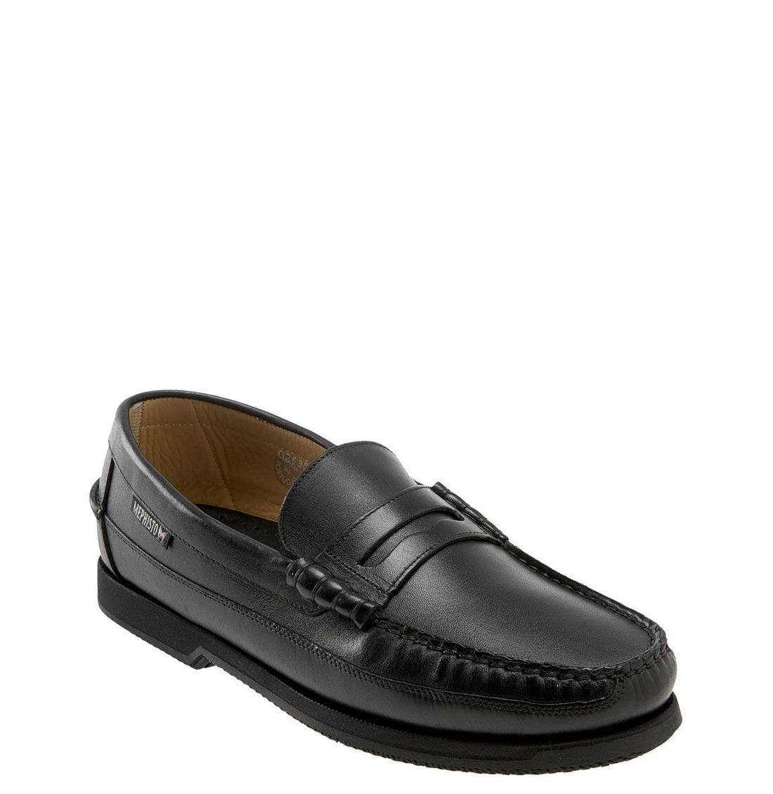 'Cap Vert' Penny Loafer,                             Main thumbnail 1, color,                             Black Leather