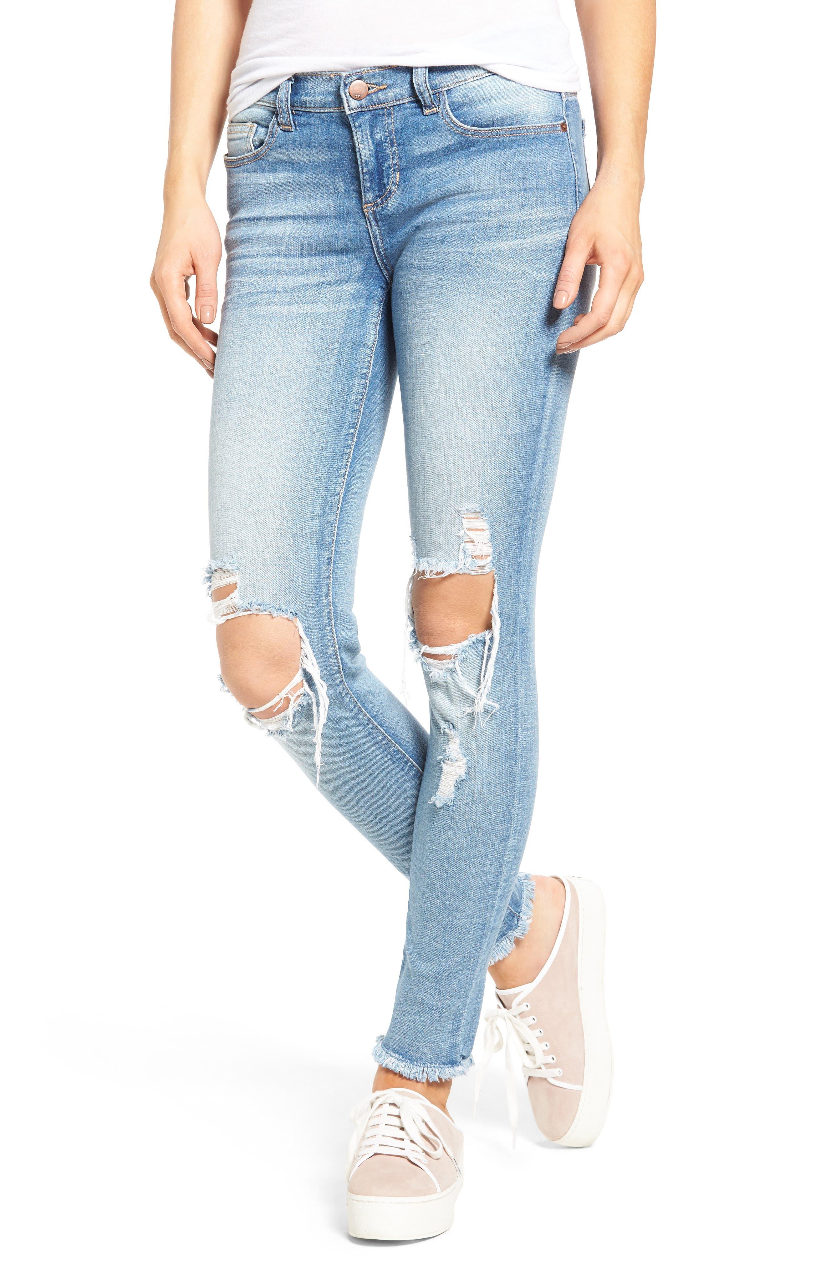 Ripped Knee Skinny Jeans,                             Main thumbnail 1, color,                             MEDIUM LIGHT