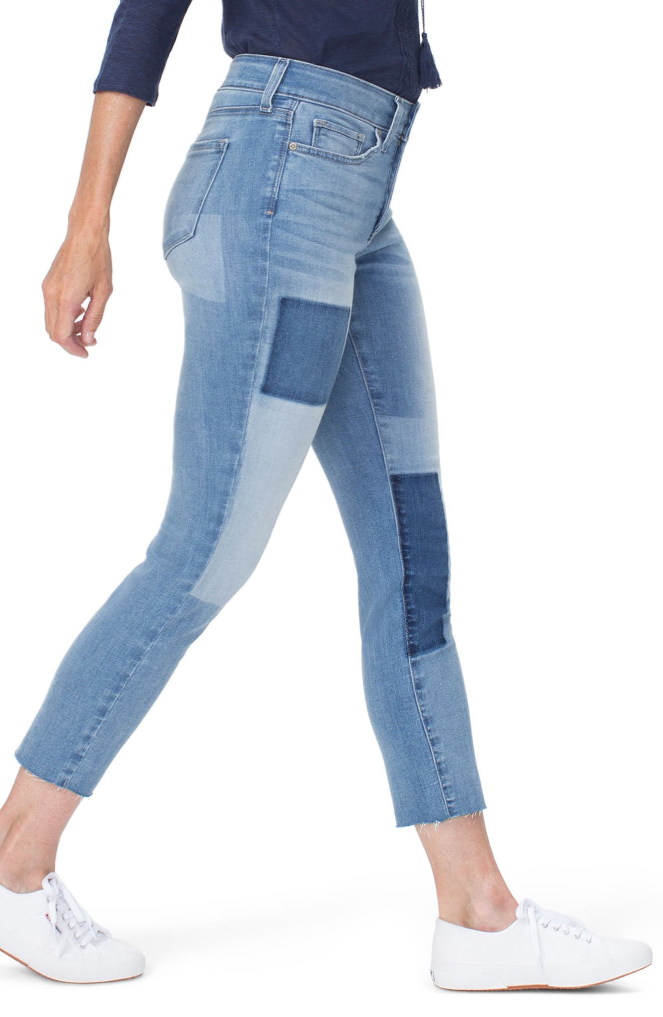 Alina High Waist Shadow Detail Ankle Jeans,                             Alternate thumbnail 3, color,                             DREAM STATE