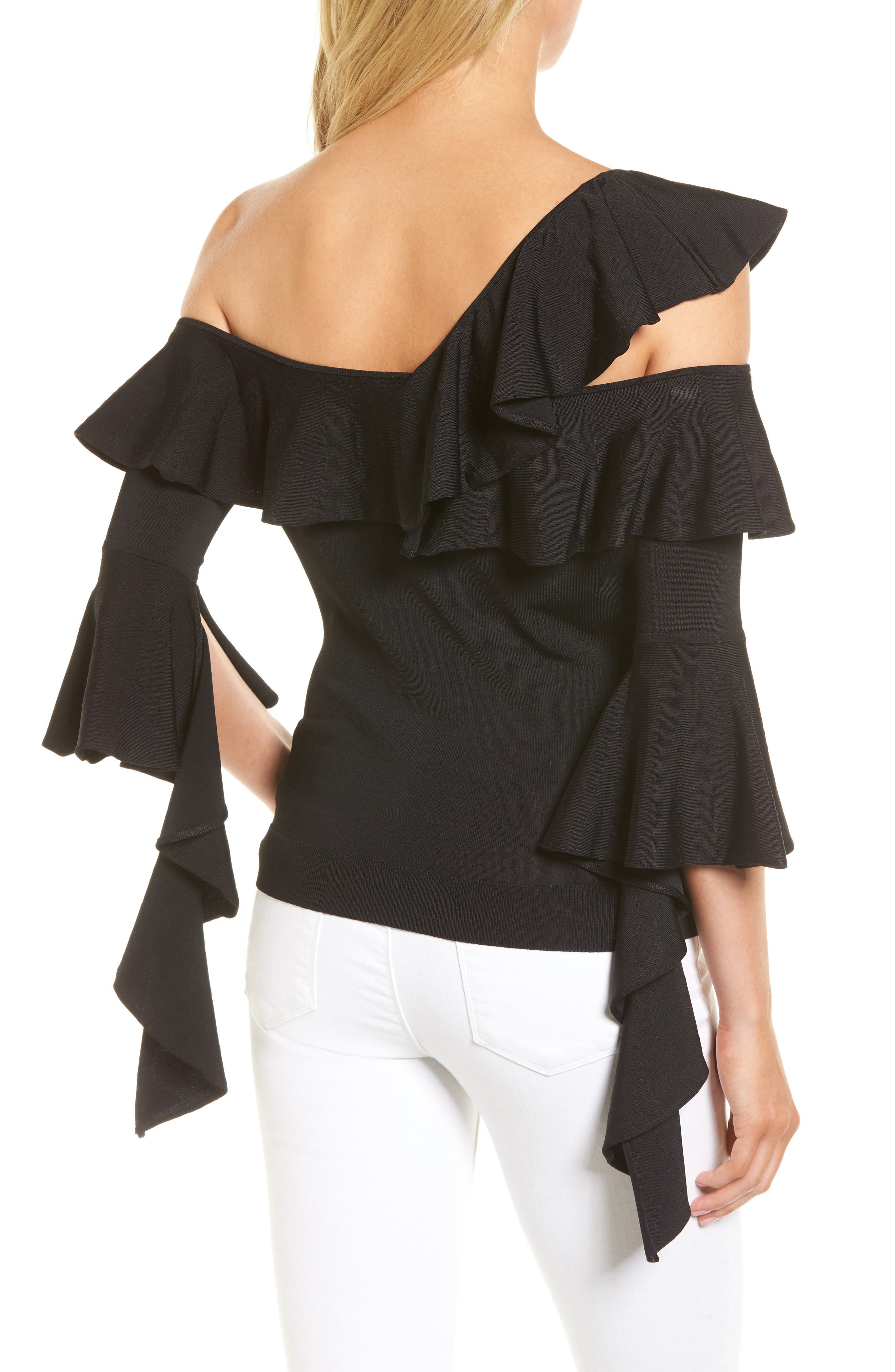 Cascading Ruffle One-Shoulder Top,                             Alternate thumbnail 2, color,                             001