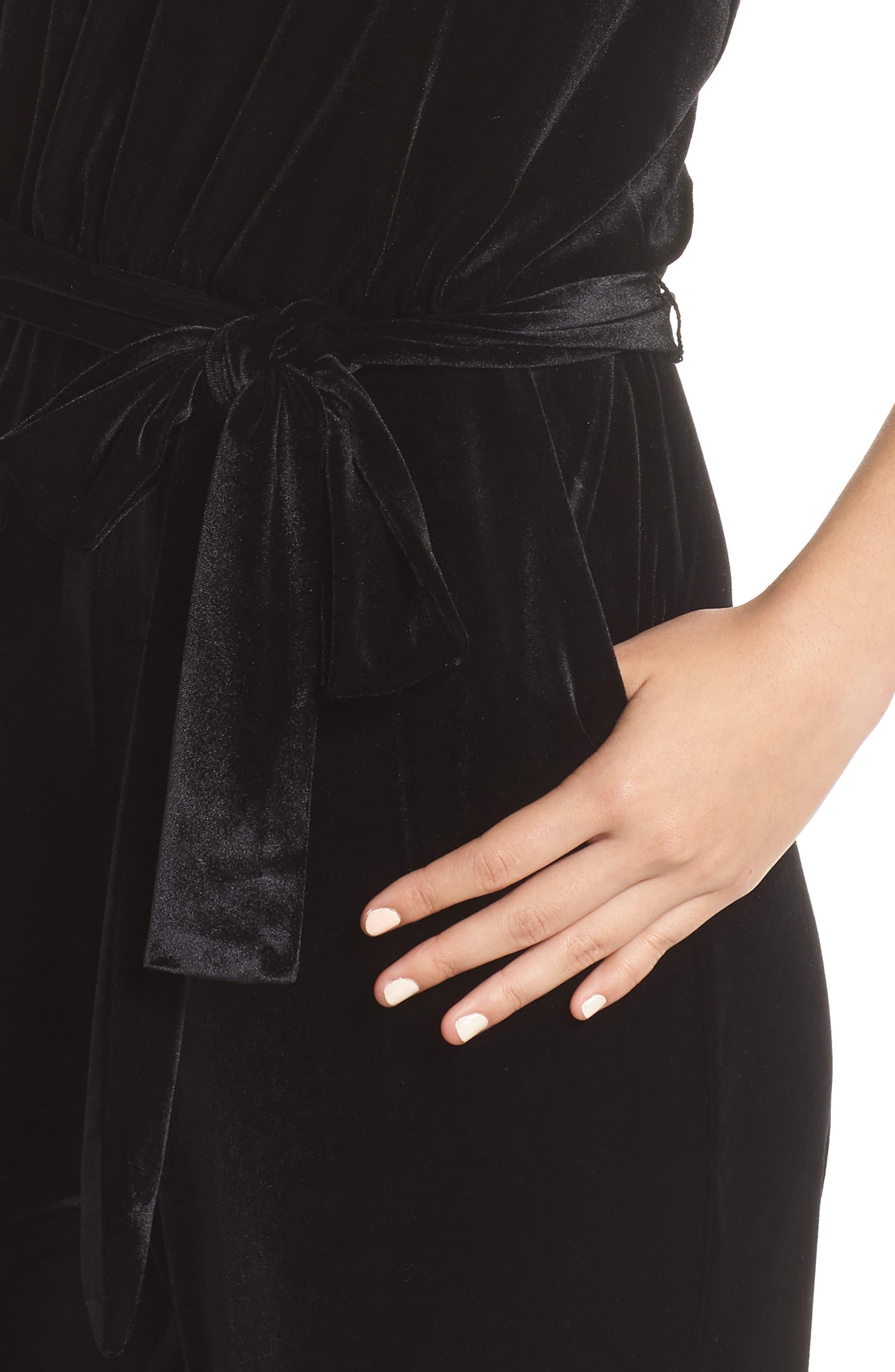 Ruffle Neck Velvet Jumpsuit,                             Alternate thumbnail 4, color,                             BLACK