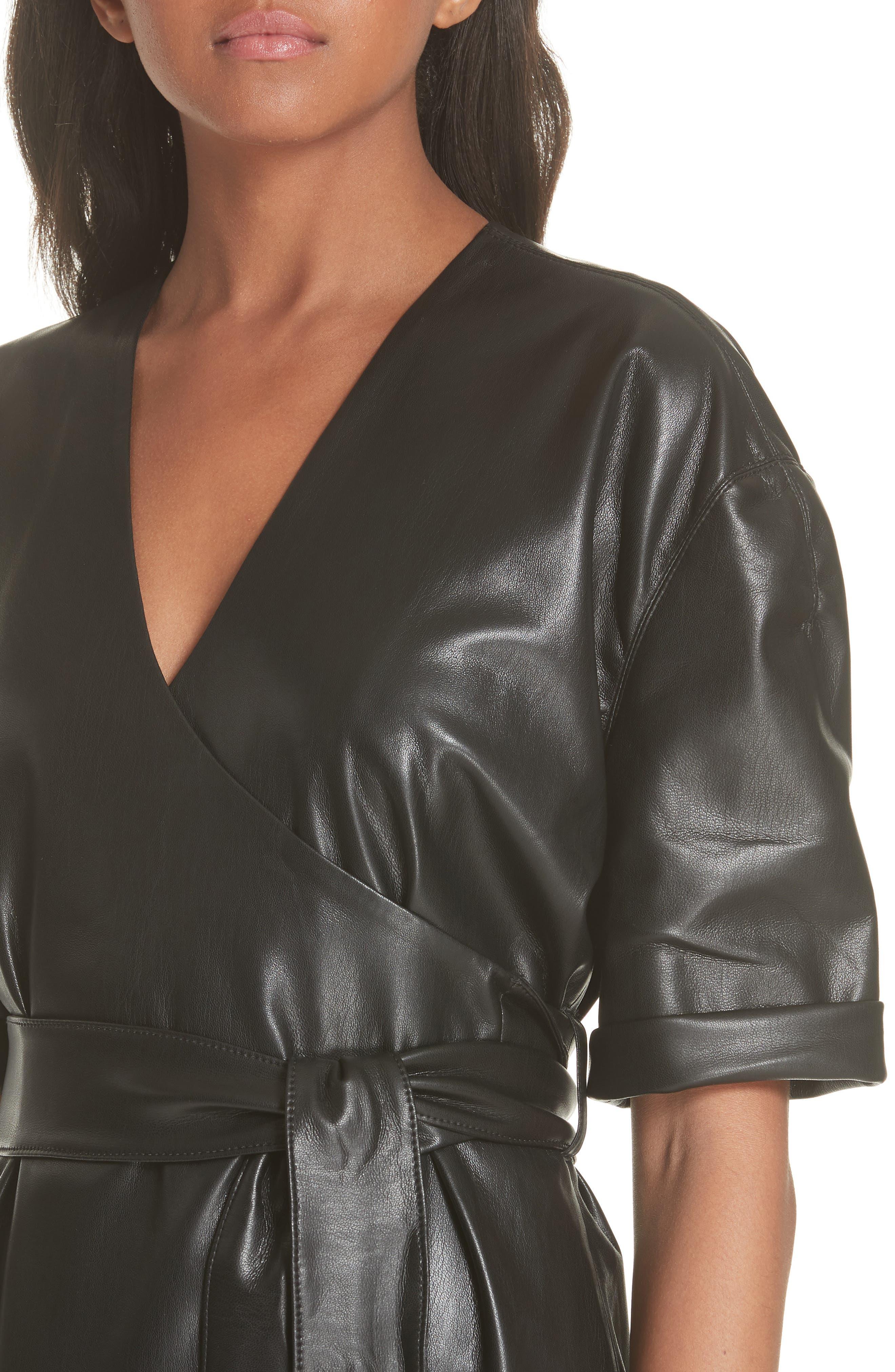 Penelope Faux Leather Wrap Dress,                             Alternate thumbnail 4, color,                             BLACK