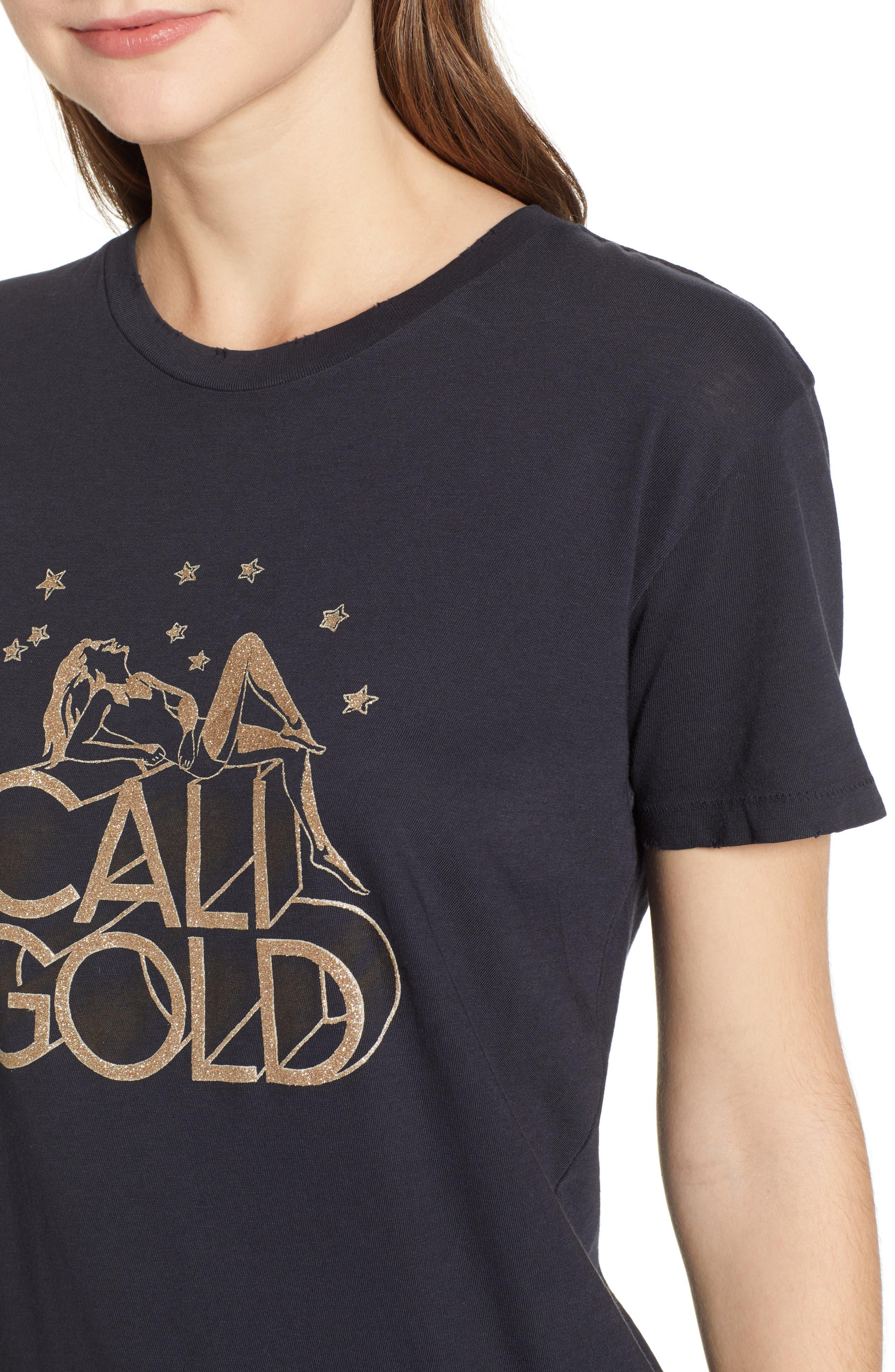 Cali Gold Tee,                             Alternate thumbnail 4, color,                             FADED BLACK