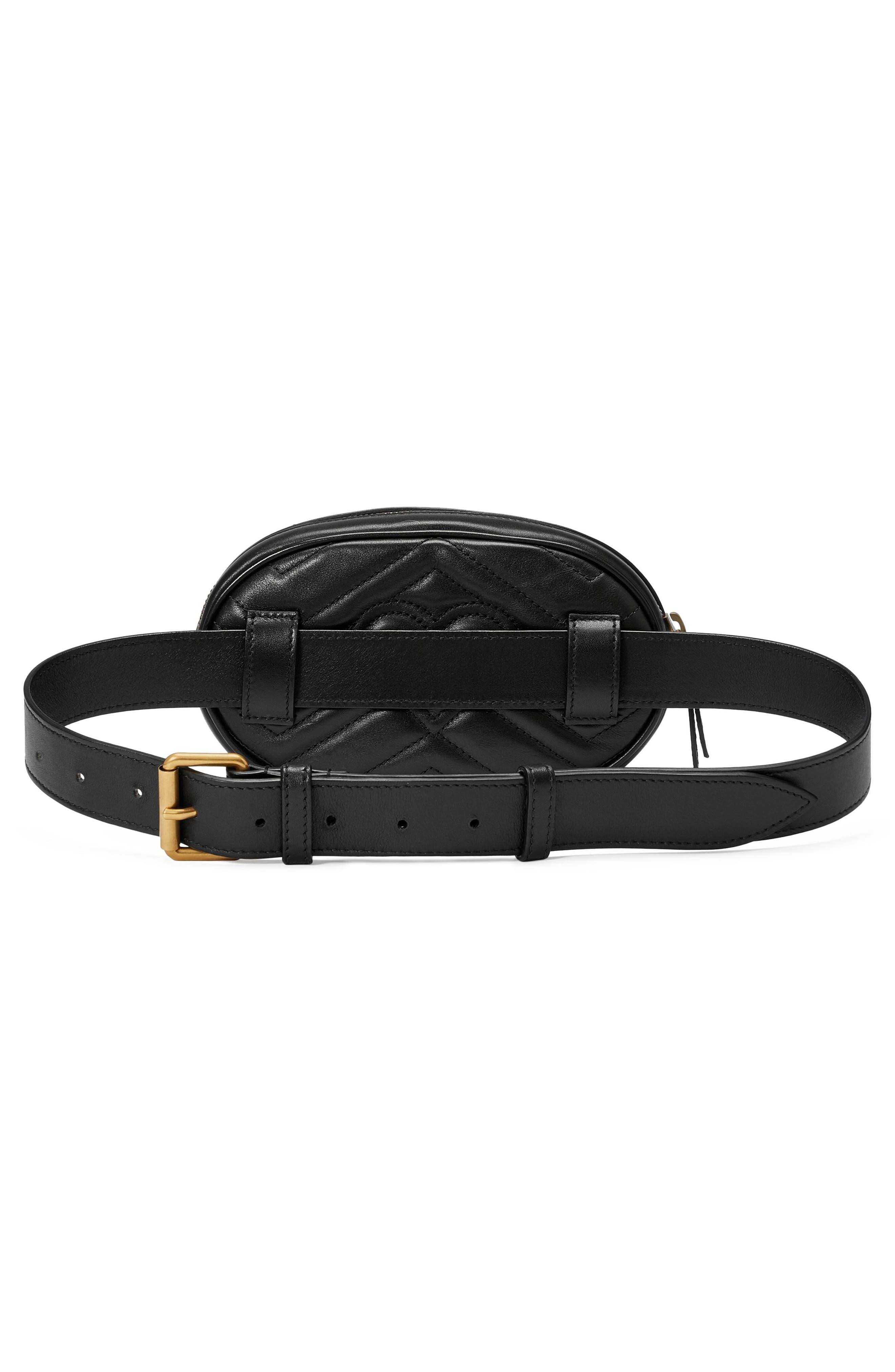 GG Marmont 2.0 Matelassé Leather Belt Bag,                             Alternate thumbnail 3, color,                             NERO