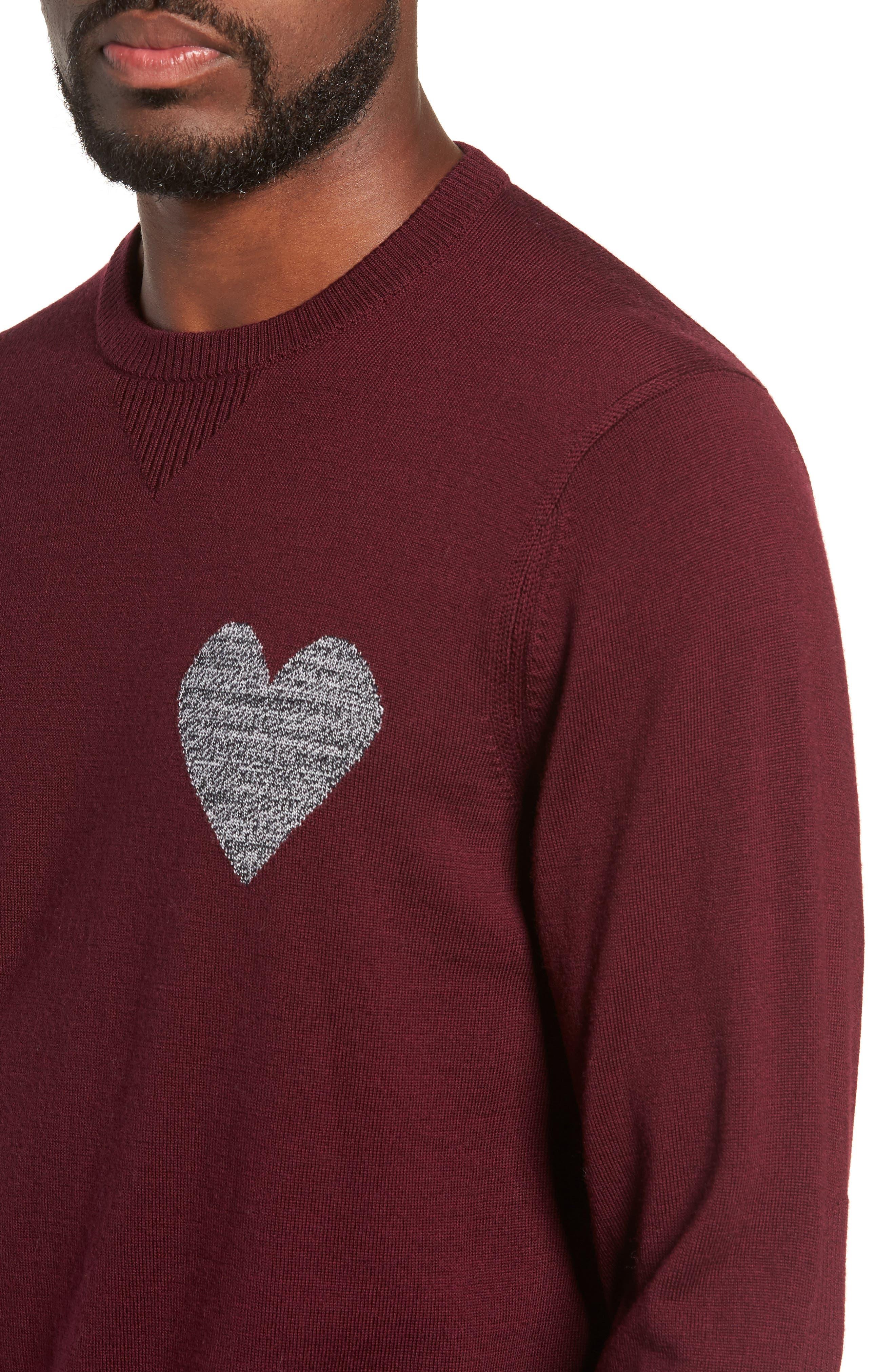 Heart Intarsia Regular Fit Merino Wool Sweater,                             Alternate thumbnail 4, color,                             BEETROOT