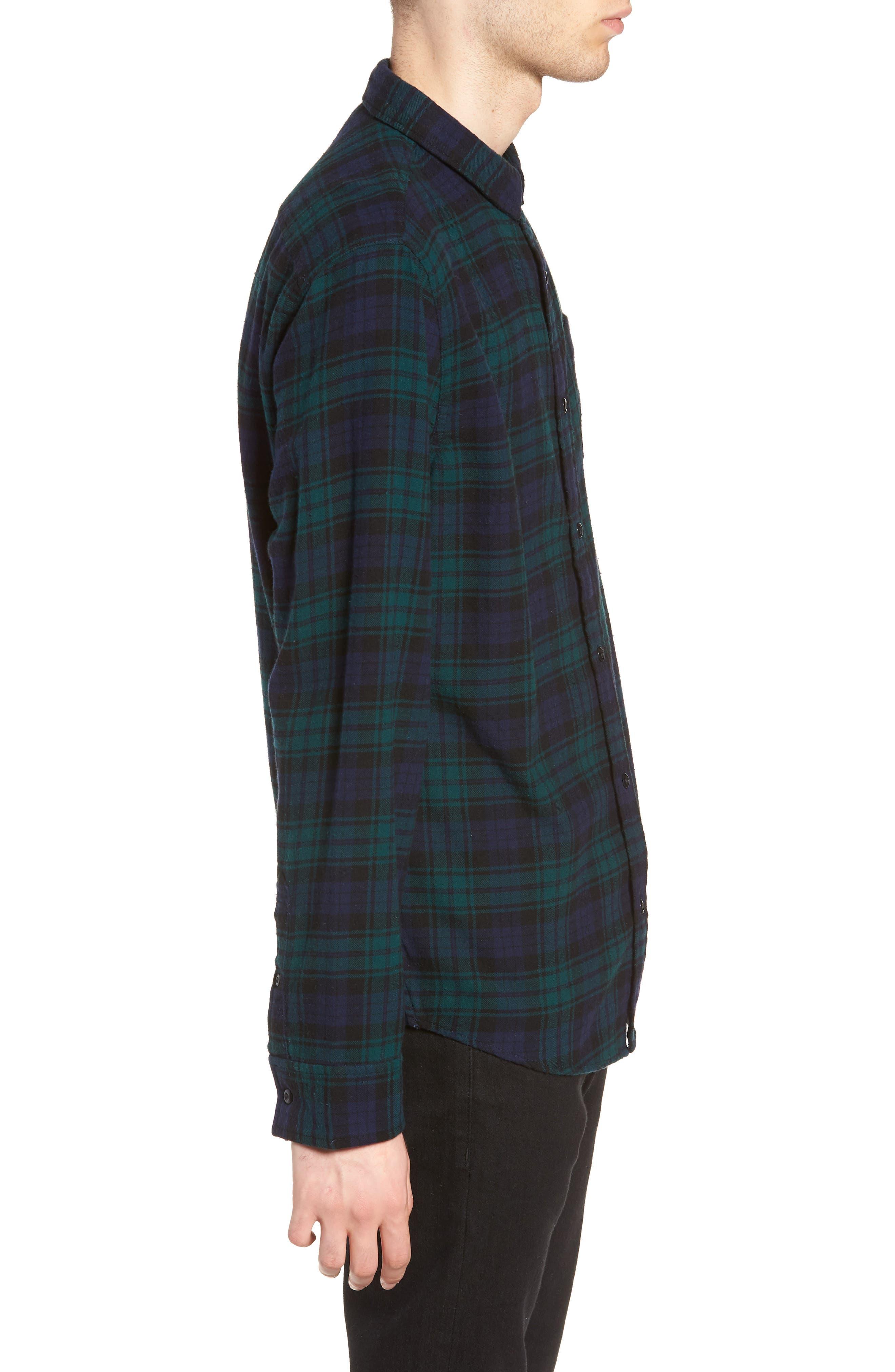 Flannel Shirt,                             Alternate thumbnail 3, color,                             BLUE GREEN CLASSIC PLAID