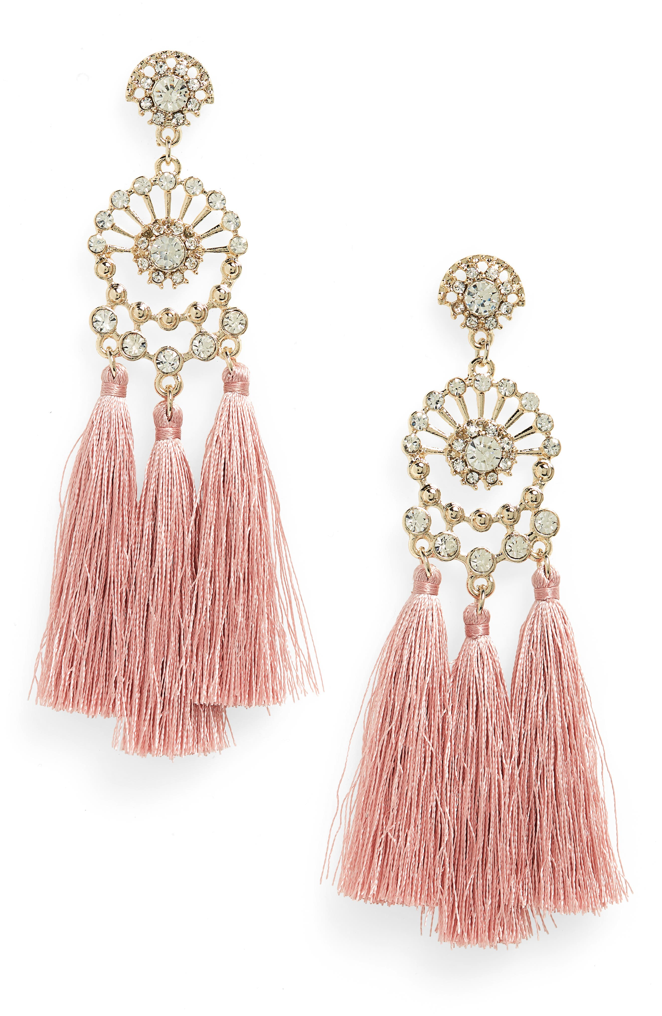 Rhinestone Tassel Drop Earrings,                             Main thumbnail 1, color,                             040