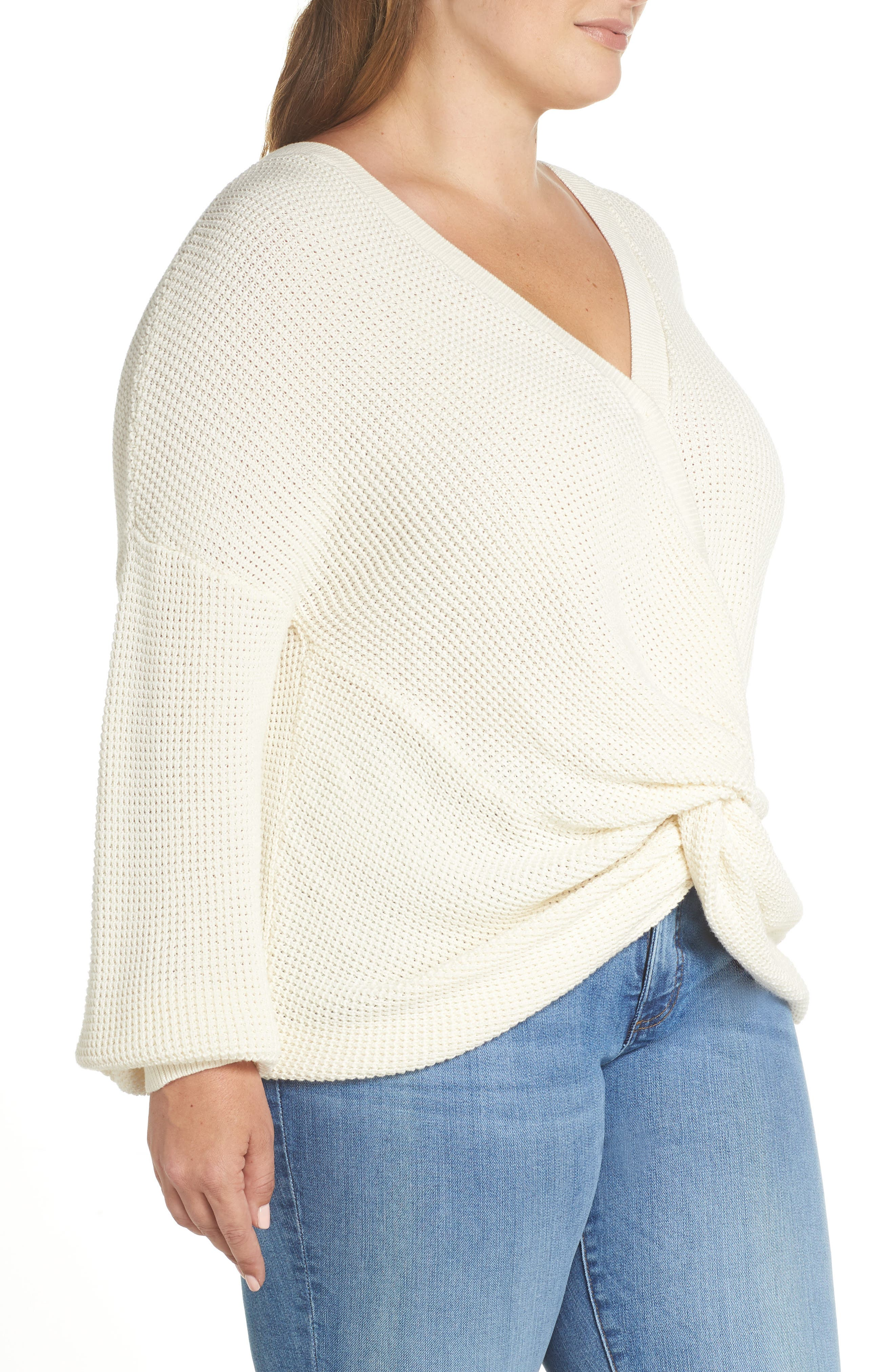 Twist Front Sweater,                             Alternate thumbnail 9, color,                             IVORY