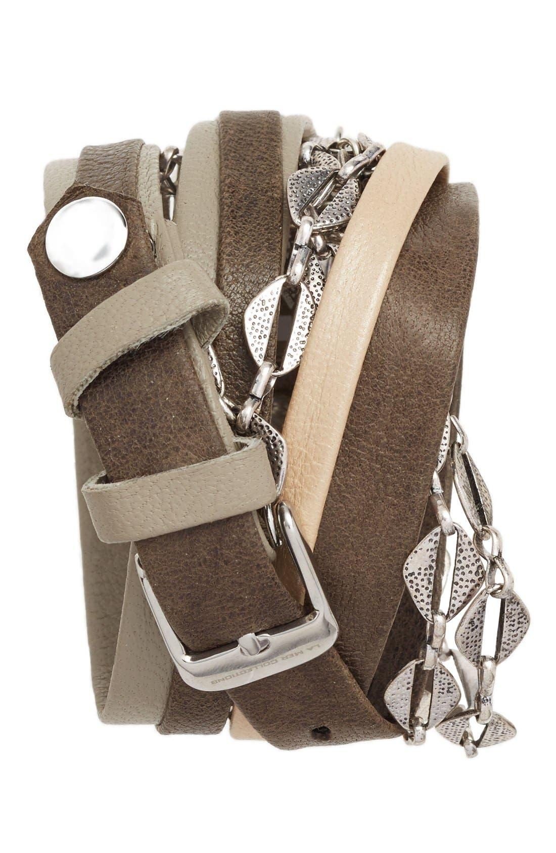 Leather & Chain Wrap Bracelet Watch, 28mm,                             Alternate thumbnail 5, color,                             040