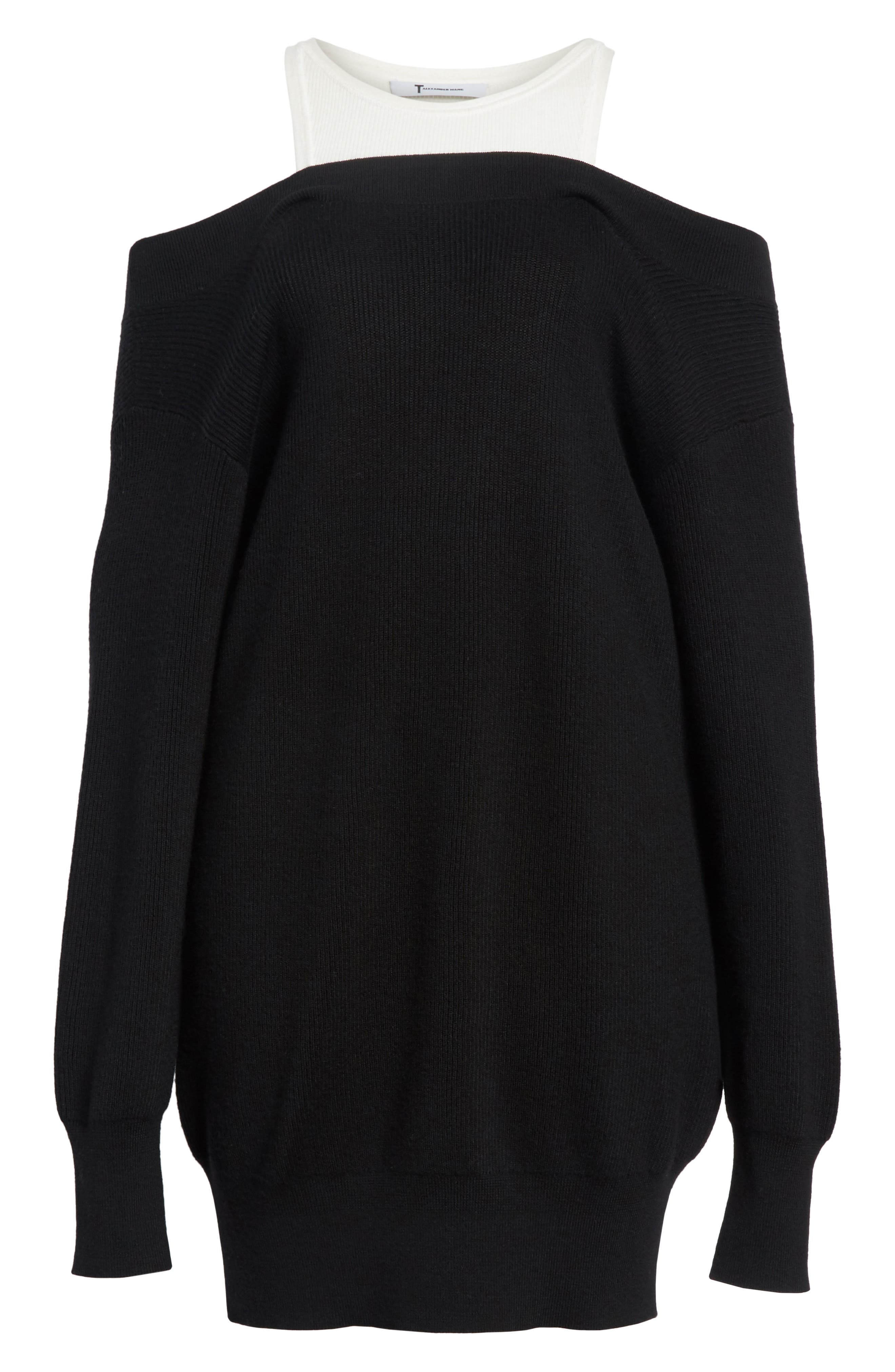 T by Alexander Wang Bi-Layer Knit Dress with Inner Tank,                             Alternate thumbnail 6, color,                             018