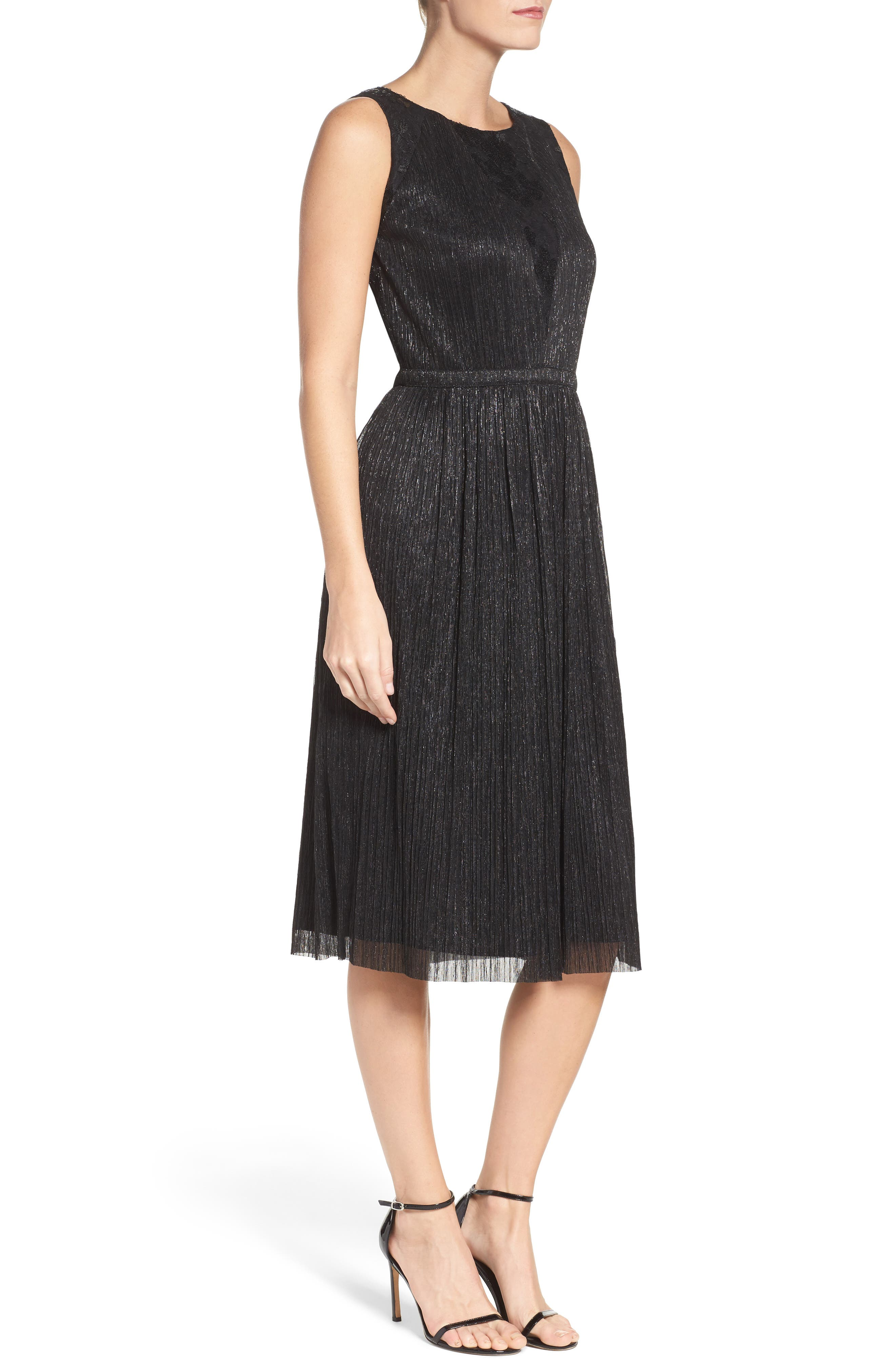 Metallic Pleated Midi Dress,                             Alternate thumbnail 3, color,                             001