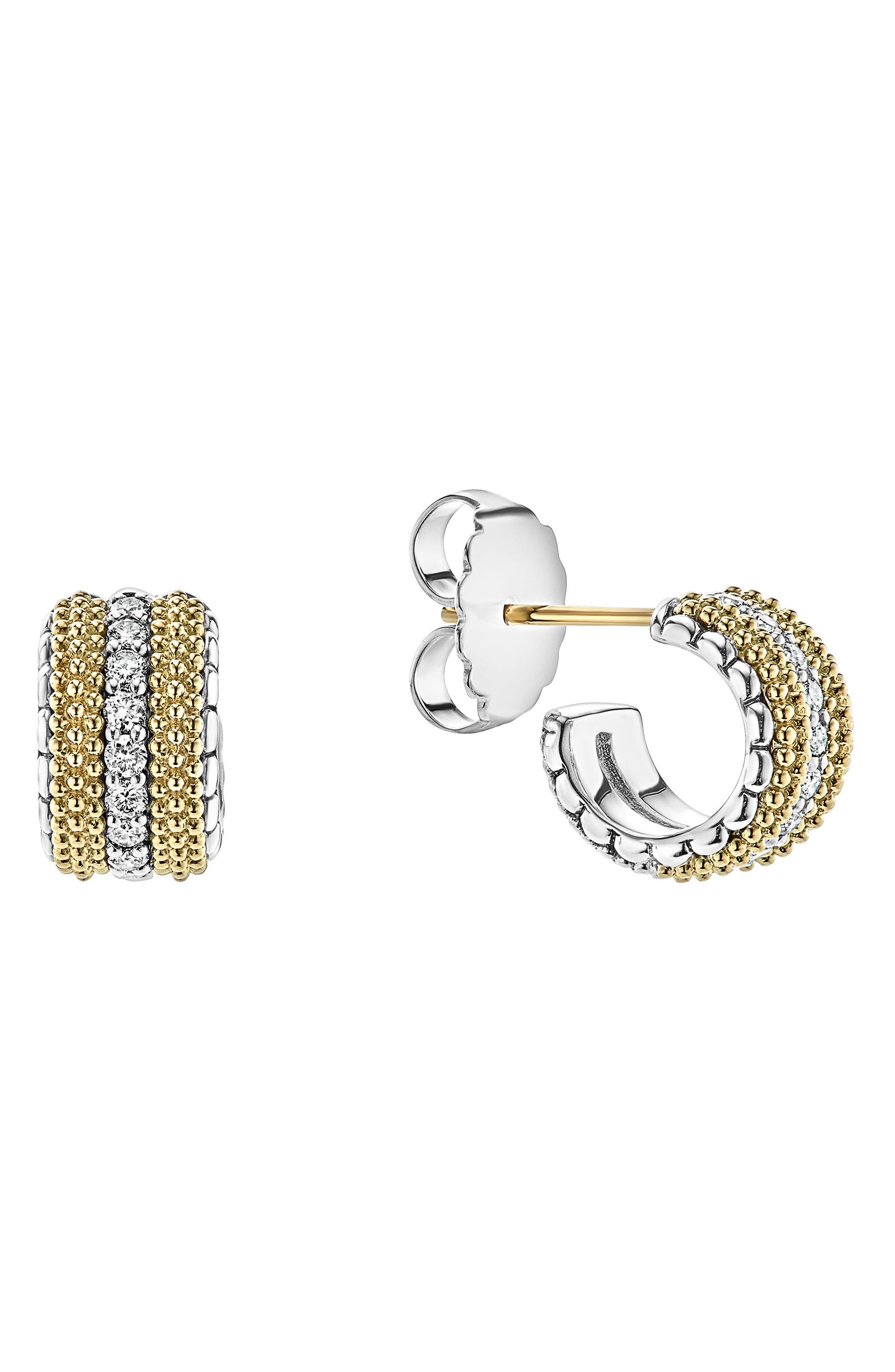 Lux Diamond Hoop Earrings,                             Alternate thumbnail 2, color,                             DIAMOND