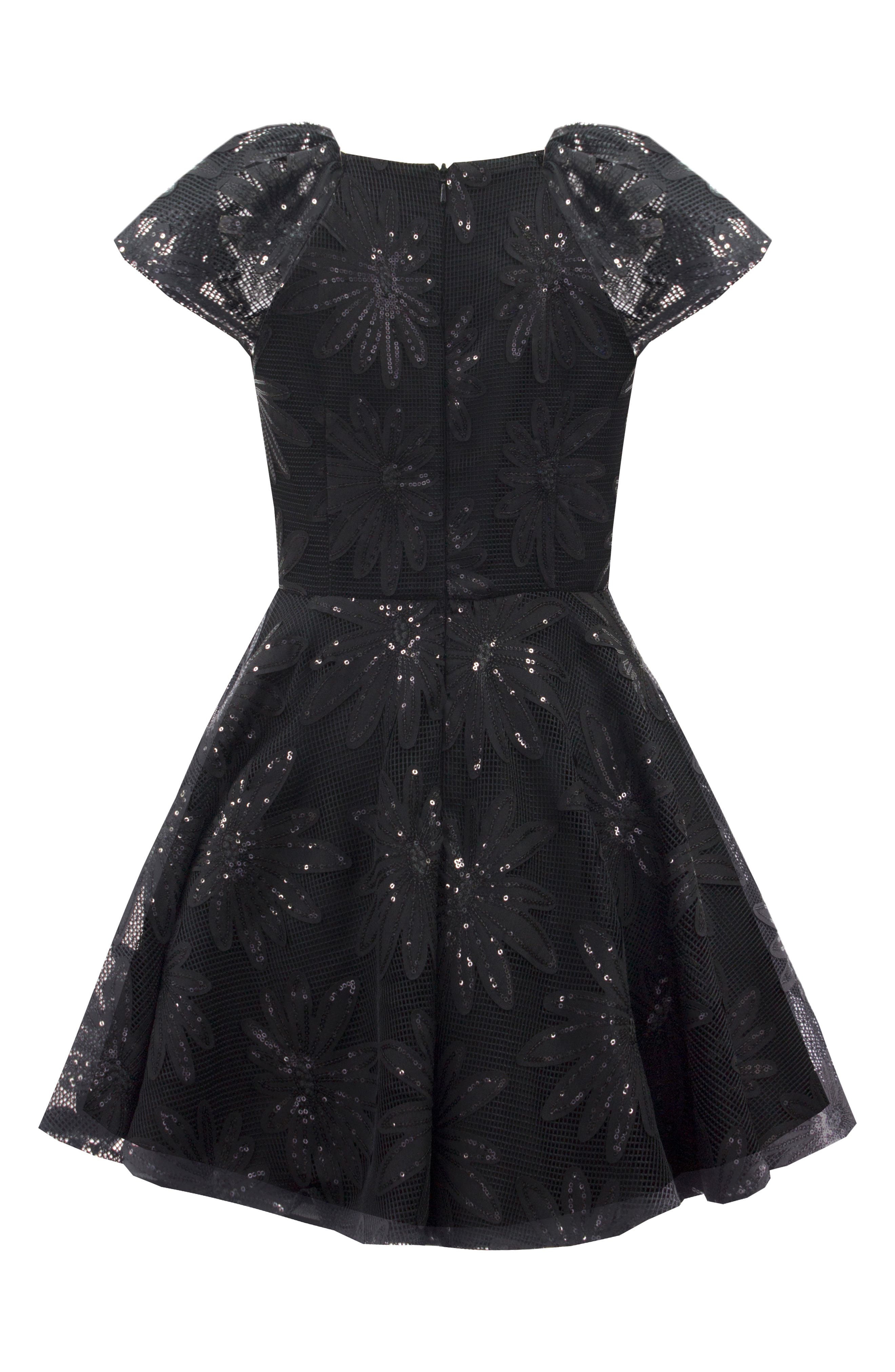 Sequin Flower Dress,                             Alternate thumbnail 2, color,                             001