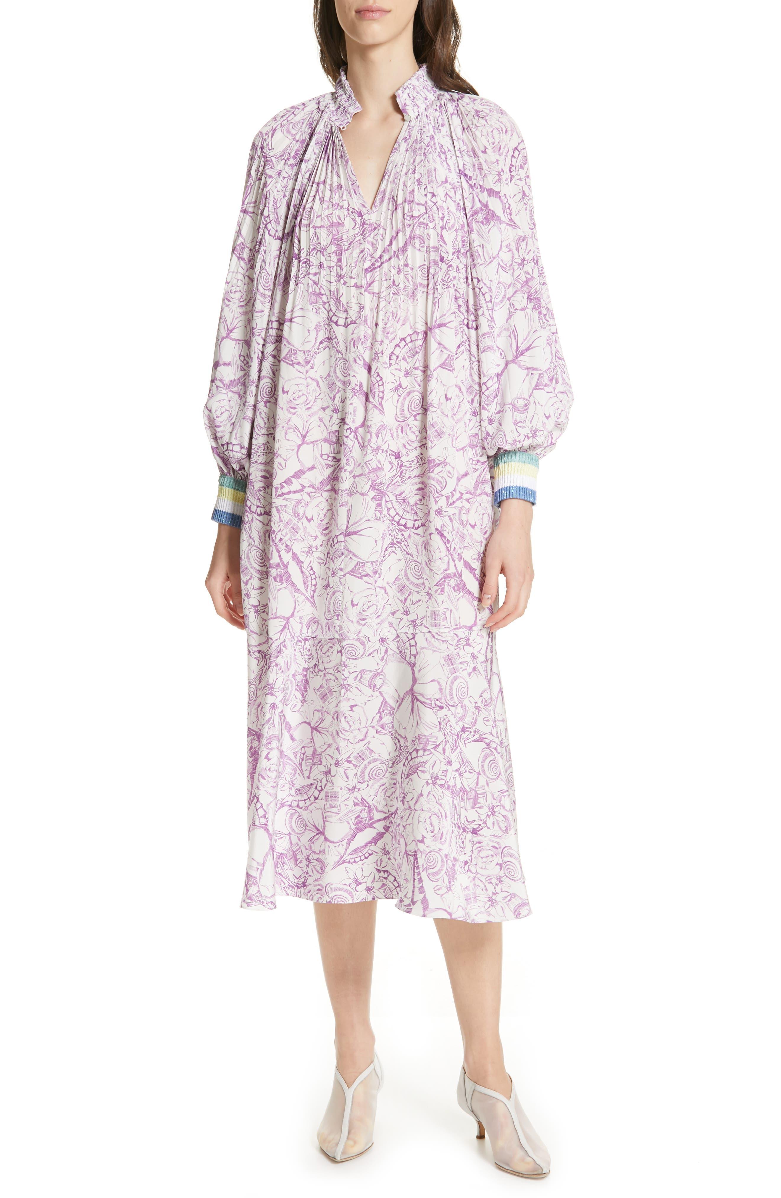 Tibi Isa Toile Print Ribbed Cuff Midi Dress, Purple