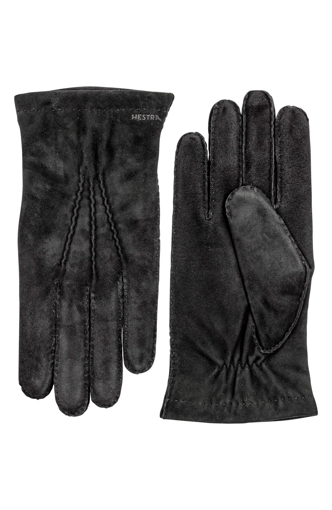 'Arthur' Suede Gloves,                             Main thumbnail 1, color,                             BLACK