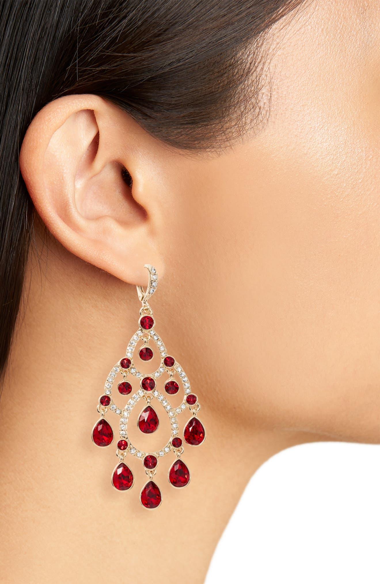 Open Crystal Chandelier Earrings,                             Alternate thumbnail 5, color,