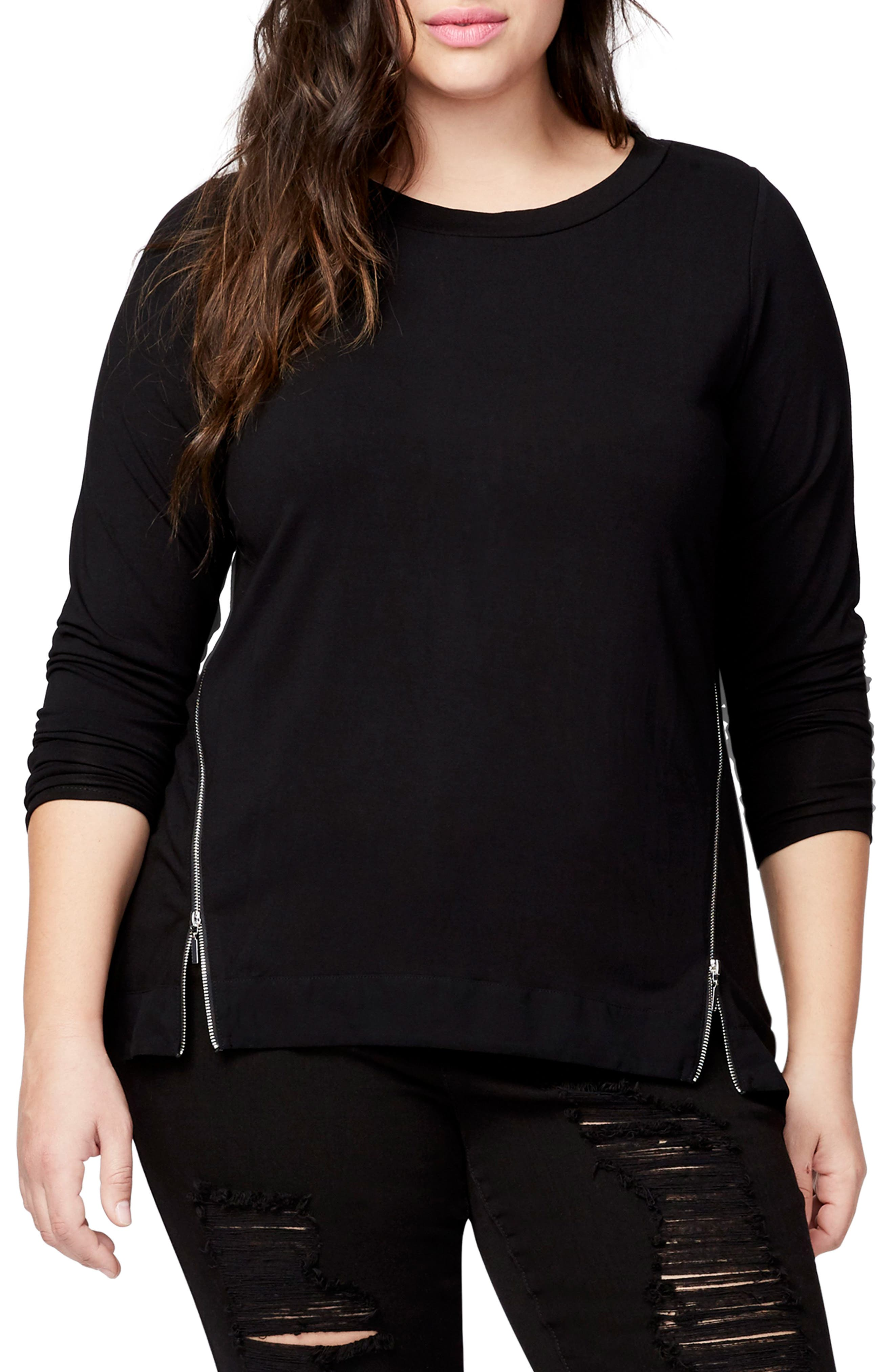 Zip Front Tee,                         Main,                         color, BLACK
