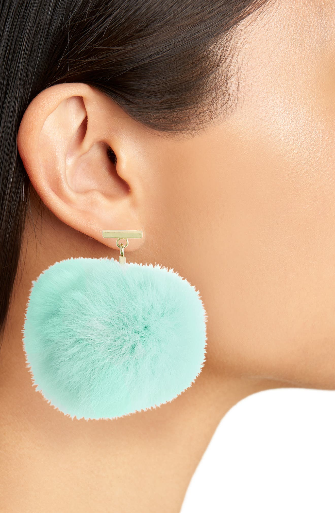 Genuine Rabbit Fur Pompom Drop Earrings,                             Alternate thumbnail 2, color,                             300