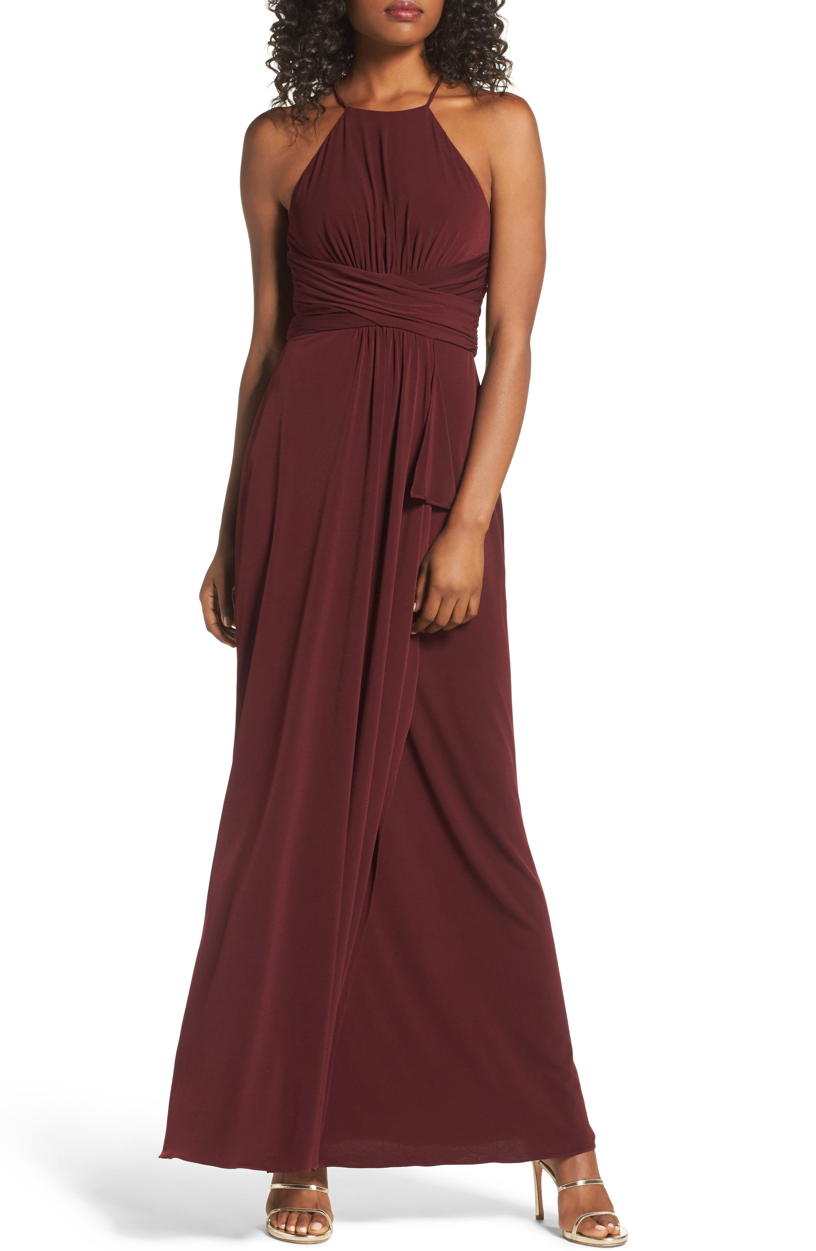 Jones Ruched Halter Gown,                             Main thumbnail 2, color,