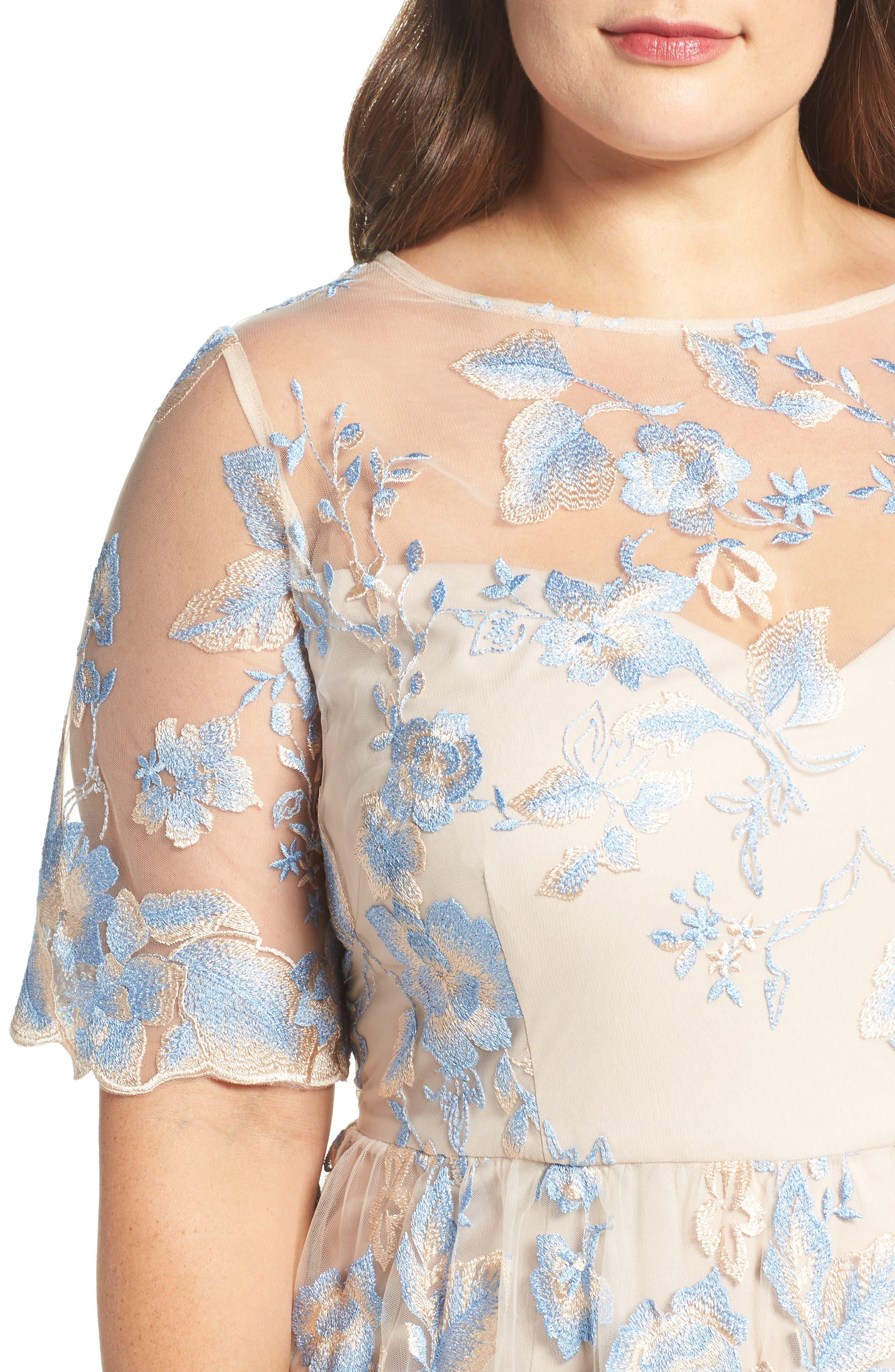 Illusion Lace Gown,                             Alternate thumbnail 5, color,                             298